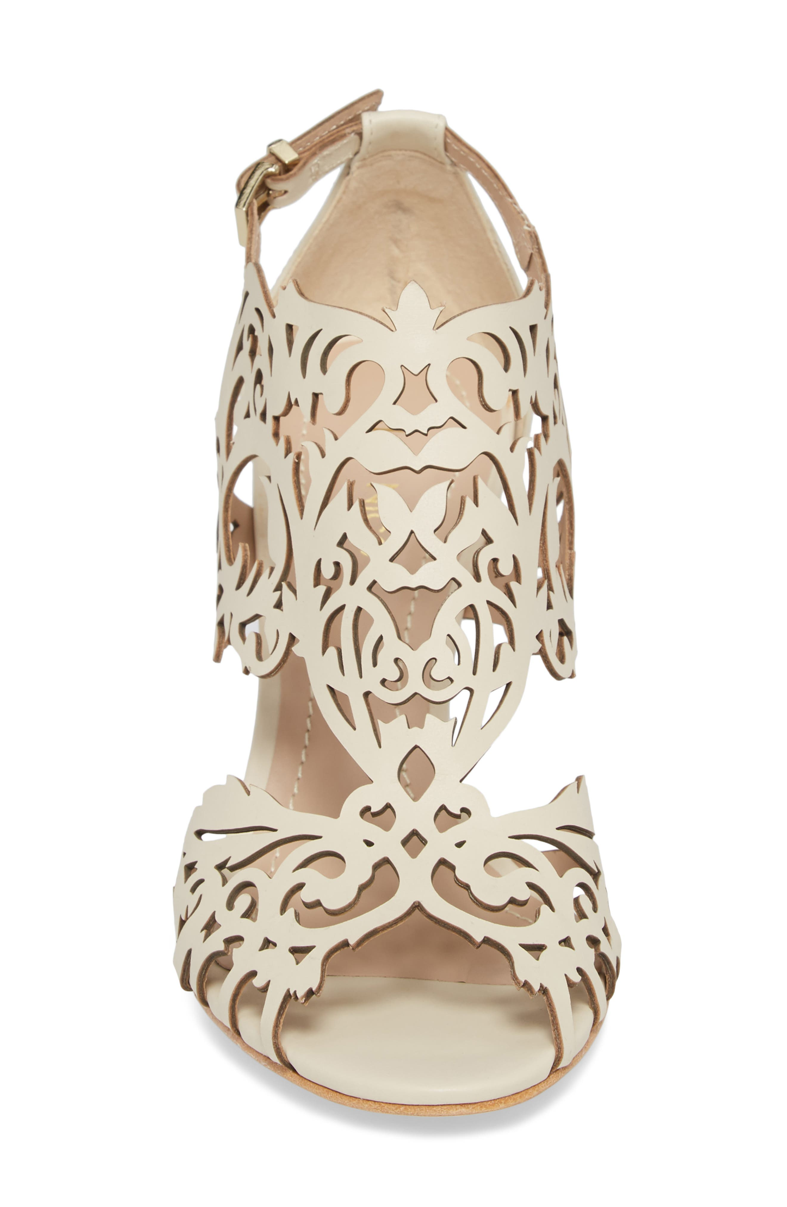 Marcela 3 Laser Cutout Sandal,                             Alternate thumbnail 4, color,                             Ivory Leather