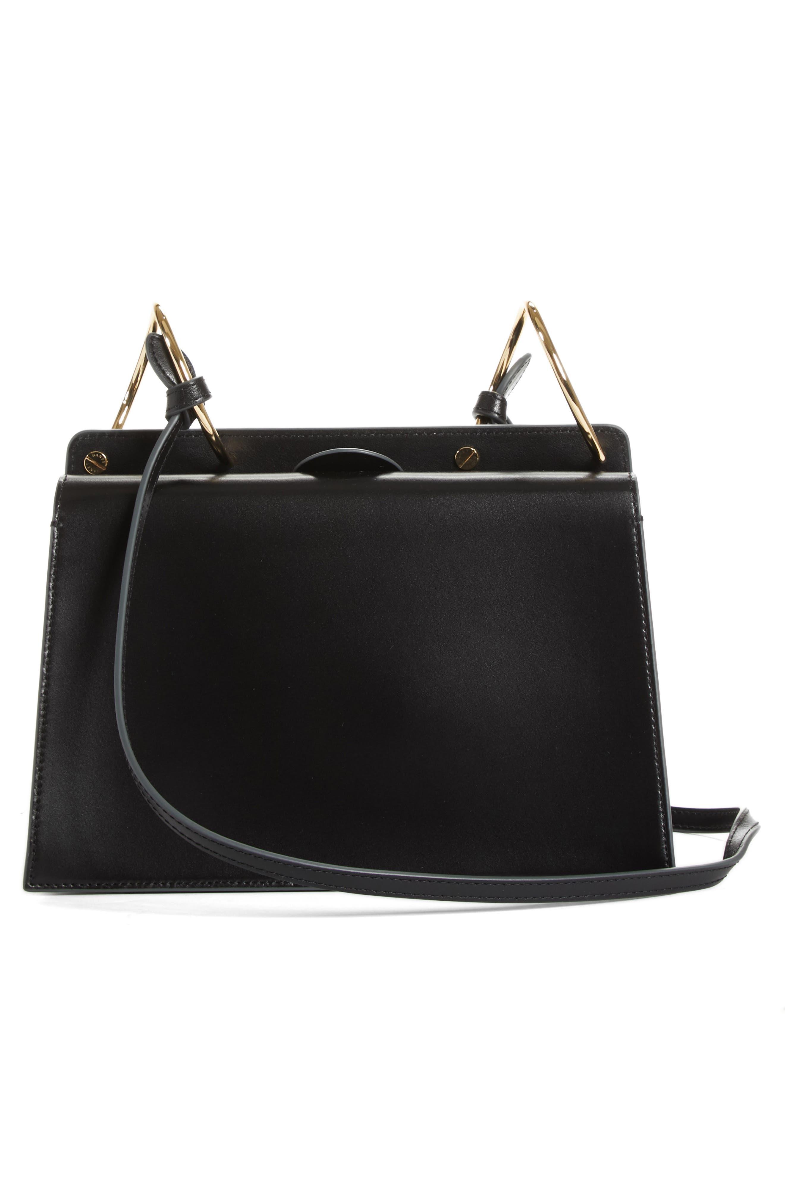 Phoebe Leather Crossbody Bag,                             Alternate thumbnail 3, color,                             Black