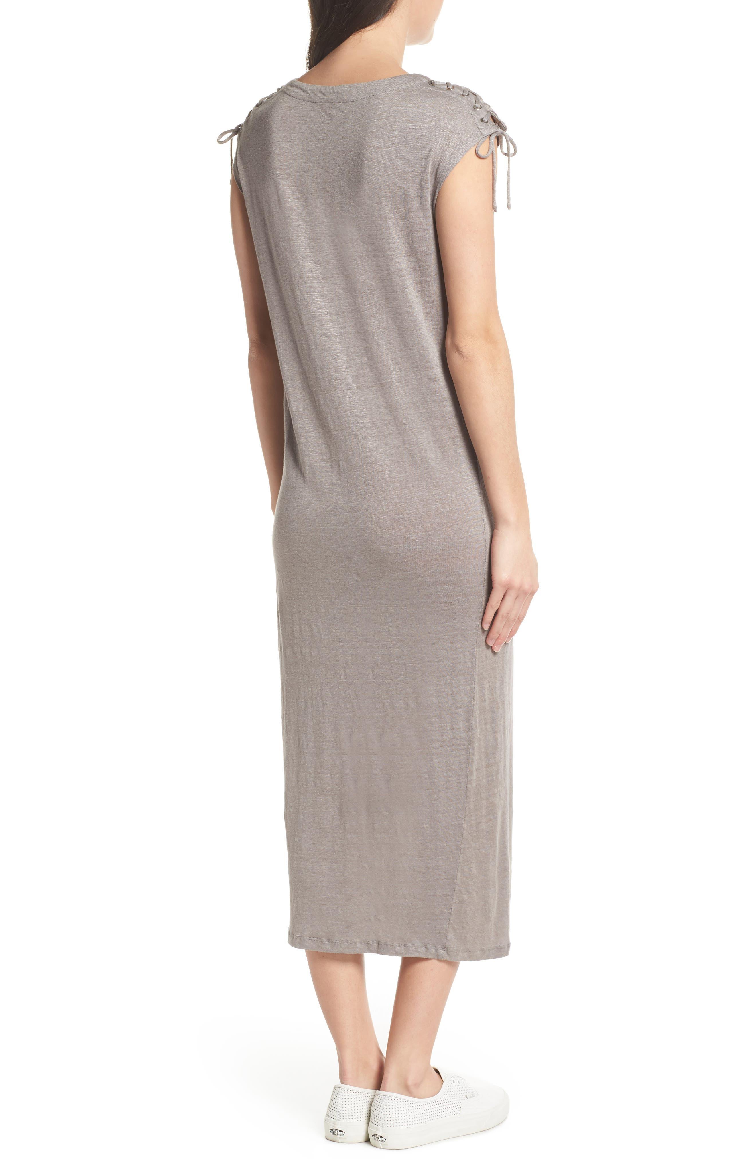 Lace-up Shoulder Jersey Midi Dress,                             Alternate thumbnail 2, color,                             Grey