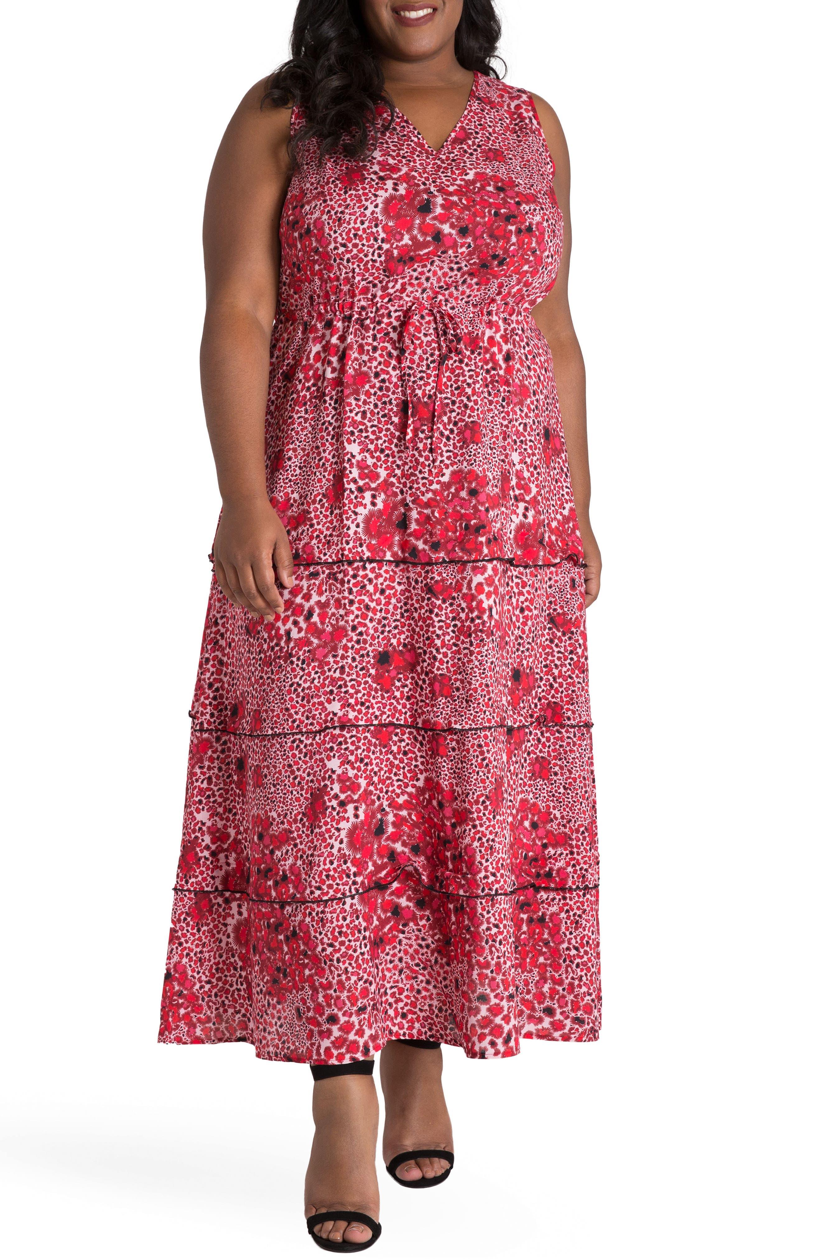 Salena Maxi Dress,                         Main,                         color, Red