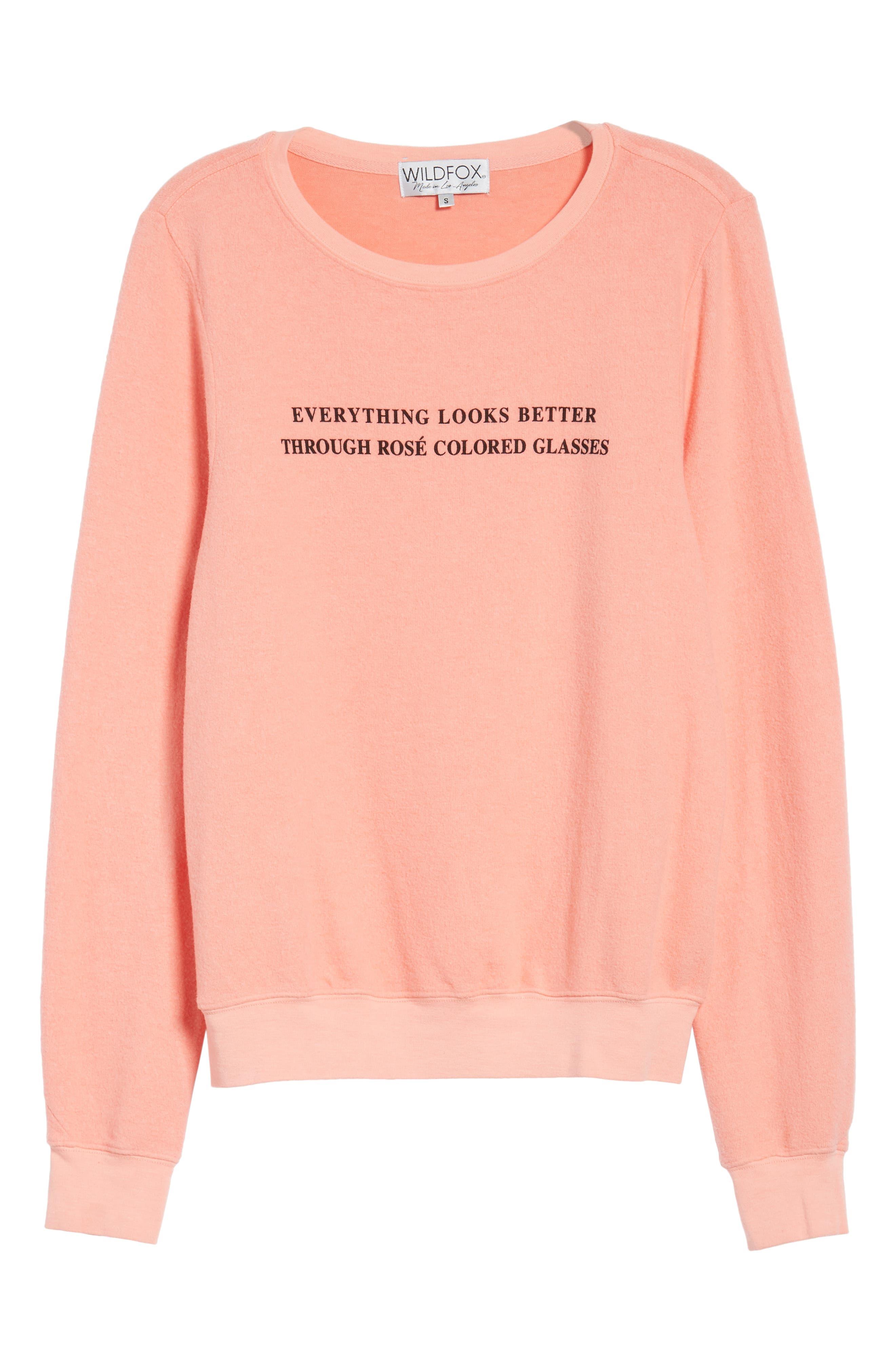 Rosé Glasses Beach Sweatshirt,                             Alternate thumbnail 7, color,                             Coral