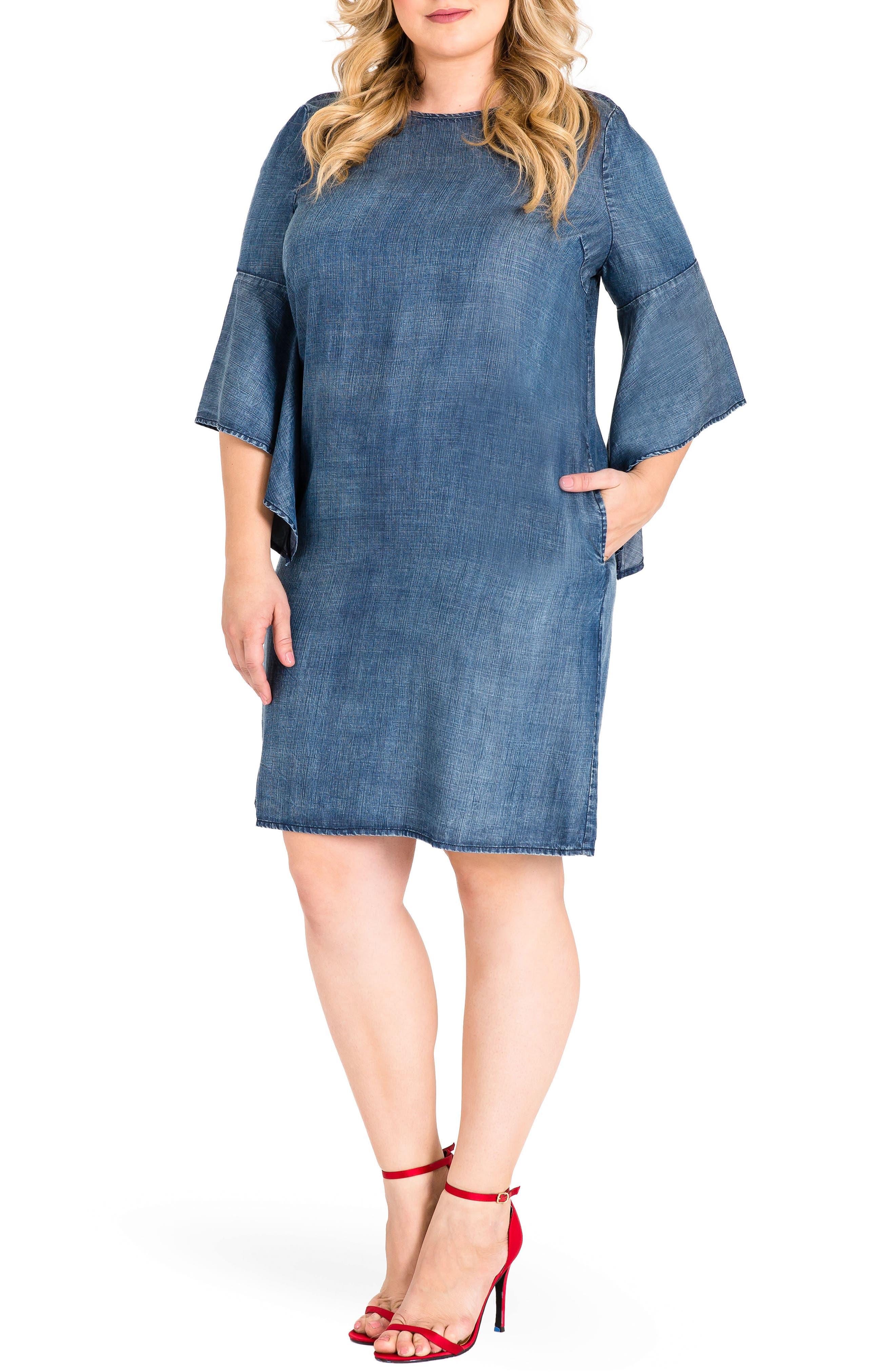 Sharon Ruffle Sleeve Mini Dress,                         Main,                         color, Med Blue