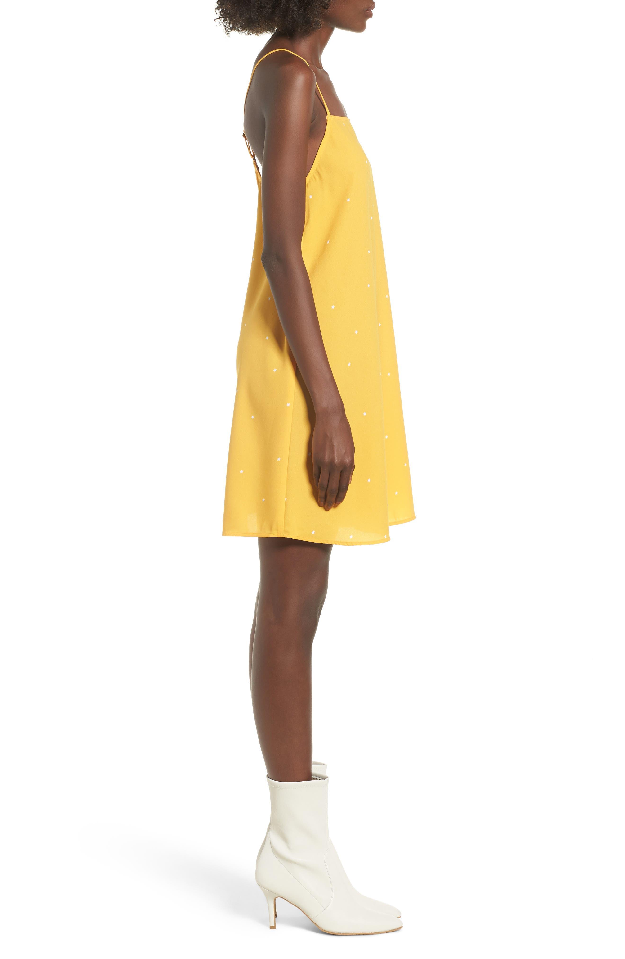 Mental 4 Metal Star Print Dress,                             Alternate thumbnail 3, color,                             Citrus Gold