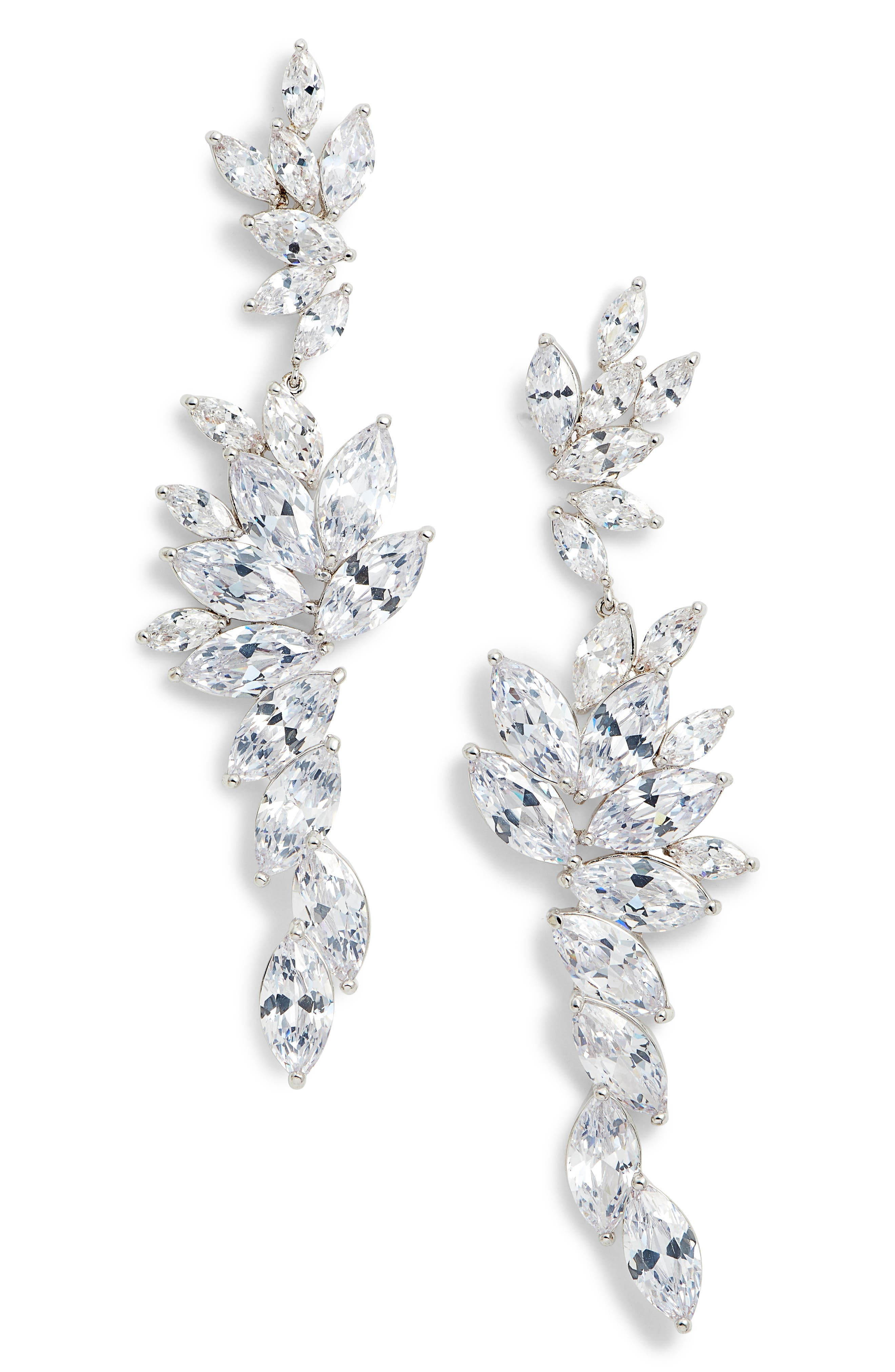 Layered Marquise Cubic Zirconia Statement Earrings,                         Main,                         color, White/ Silver