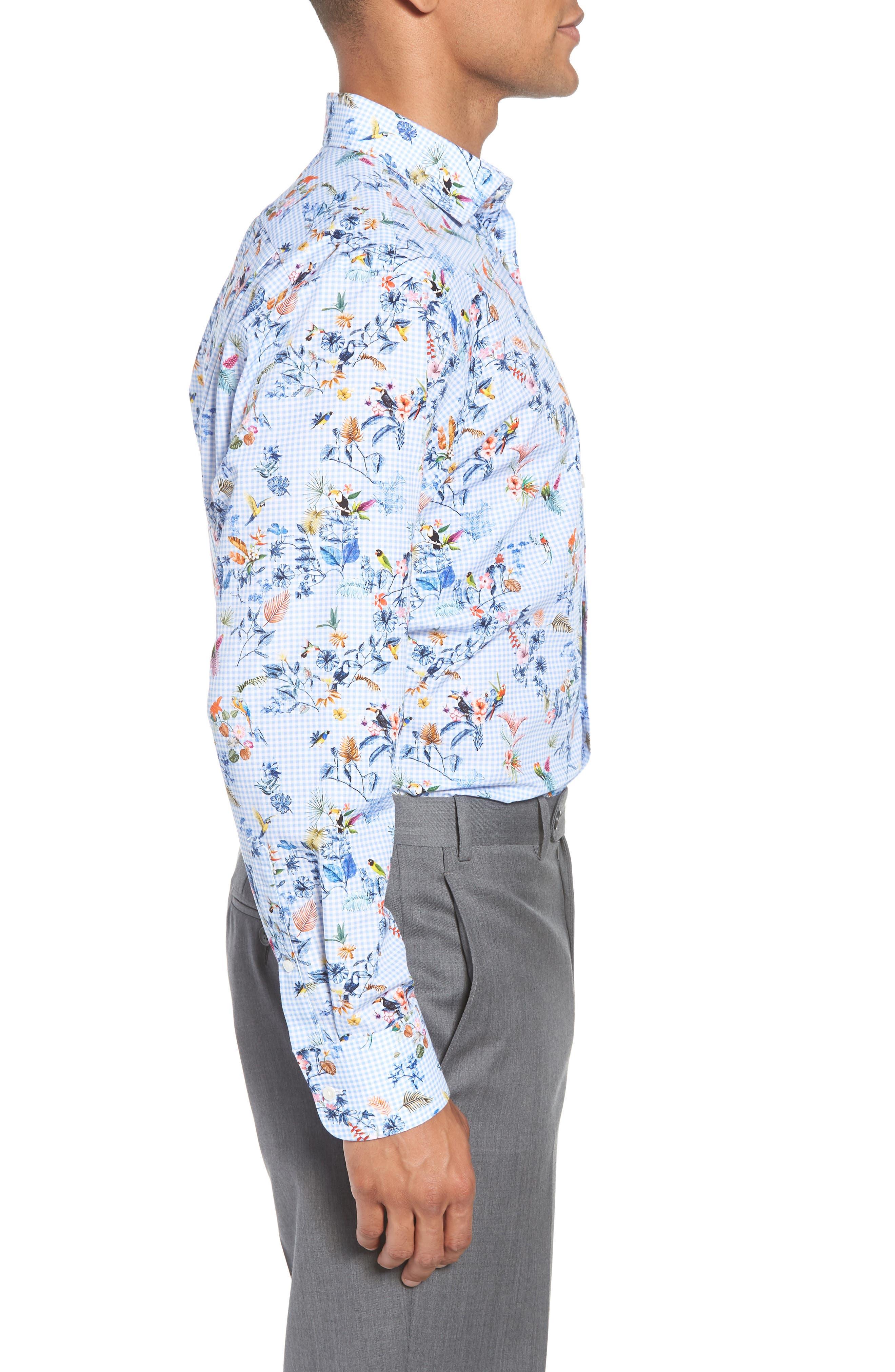 Trim Fit Floral Dress Shirt,                             Alternate thumbnail 4, color,                             Blue Cornflower