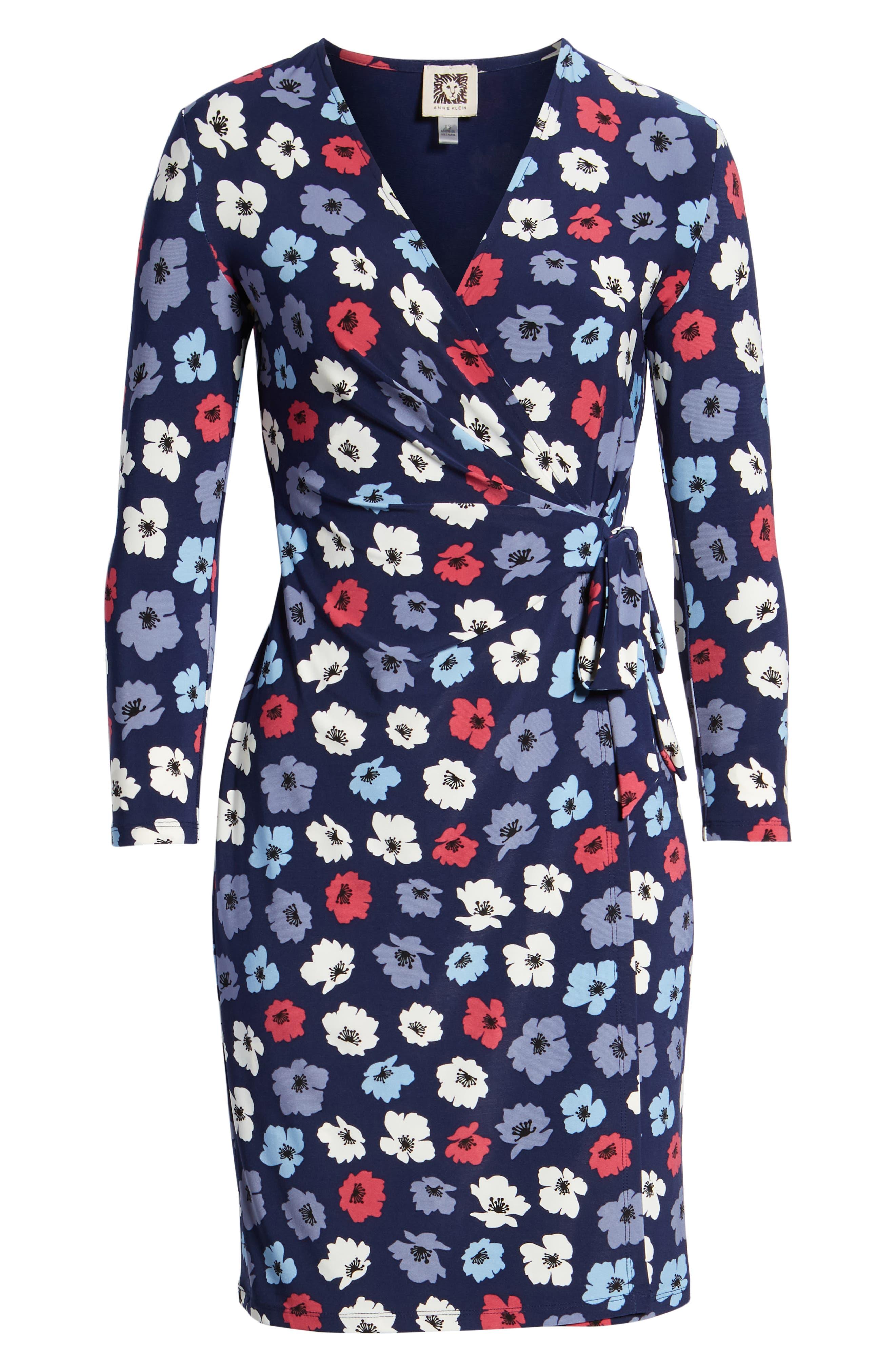 Floral Faux Wrap Dress,                             Alternate thumbnail 7, color,                             Eclipse/ Breton Red Combo