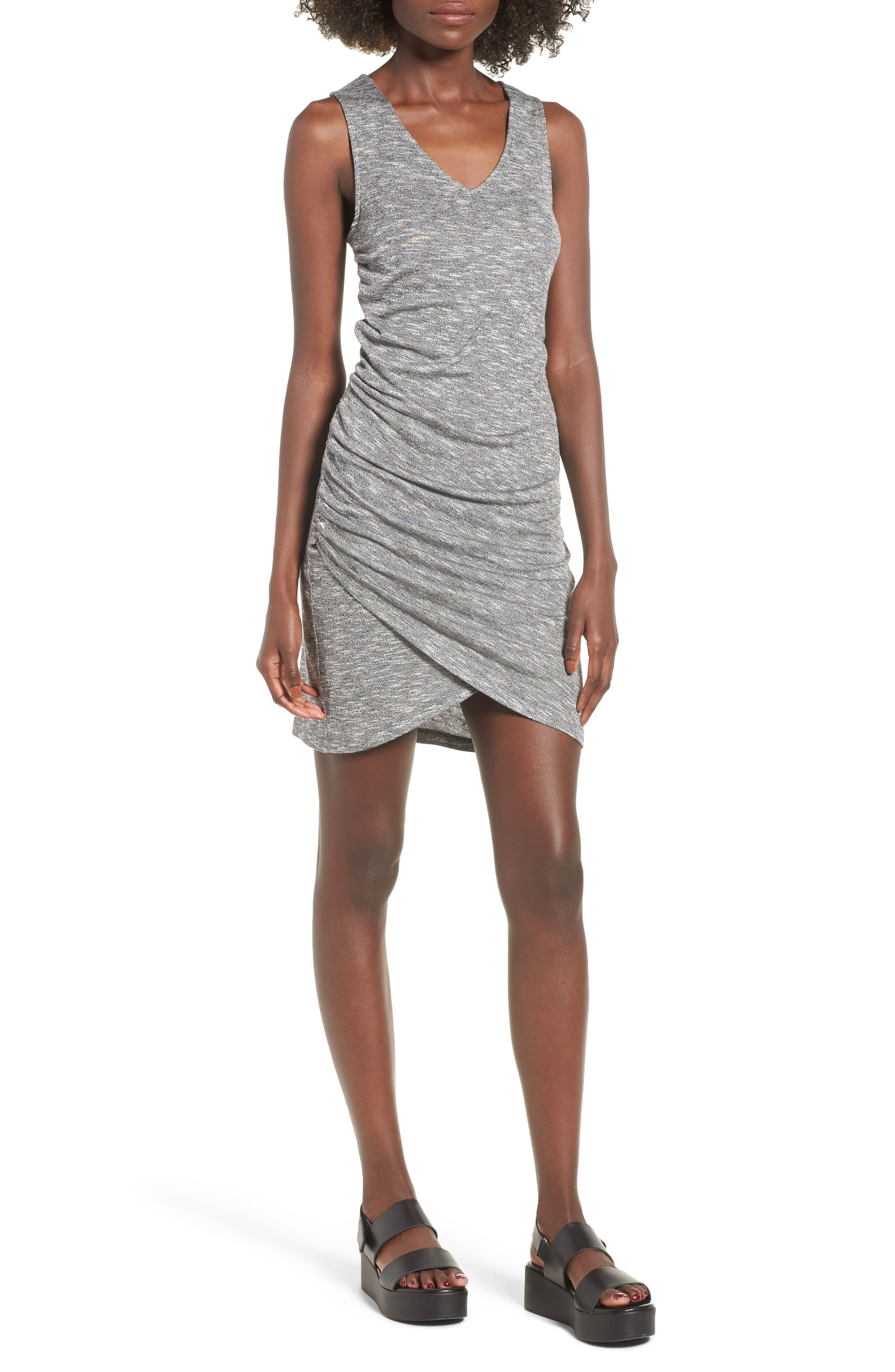 Ruched Tank Dress,                             Main thumbnail 1, color,                             Heather Grey