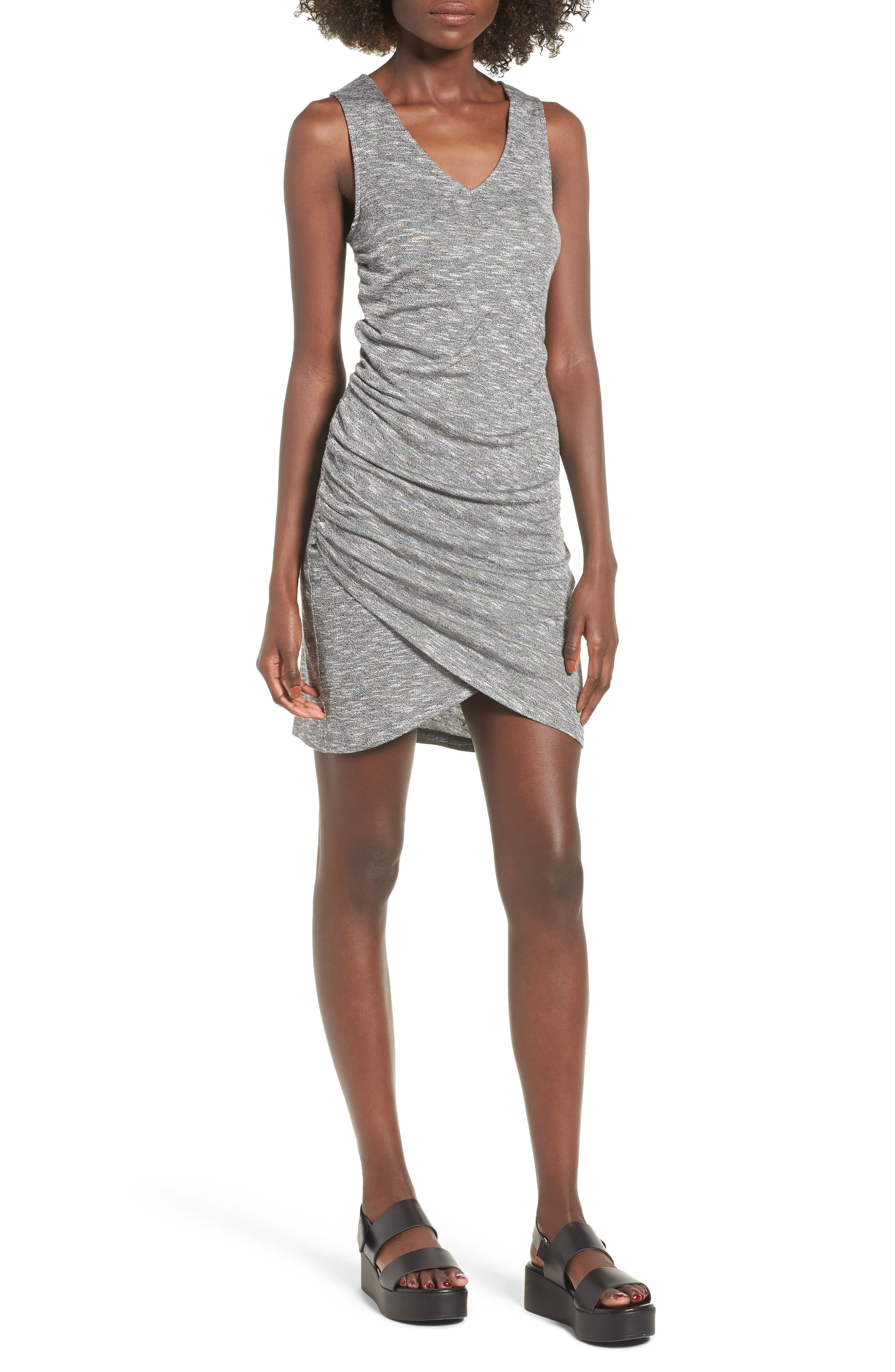Ruched Tank Dress,                         Main,                         color, Heather Grey
