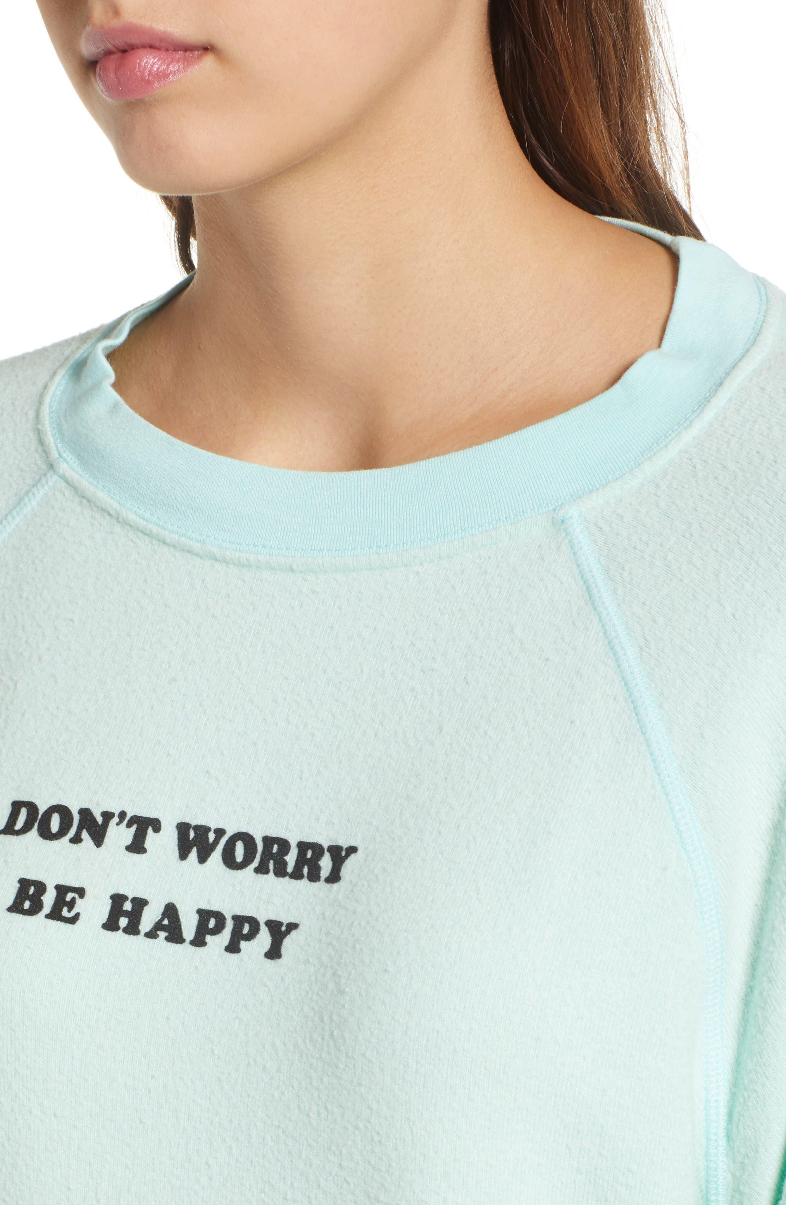 Be Happy Sweatshirt,                             Alternate thumbnail 4, color,                             Aqua Diver