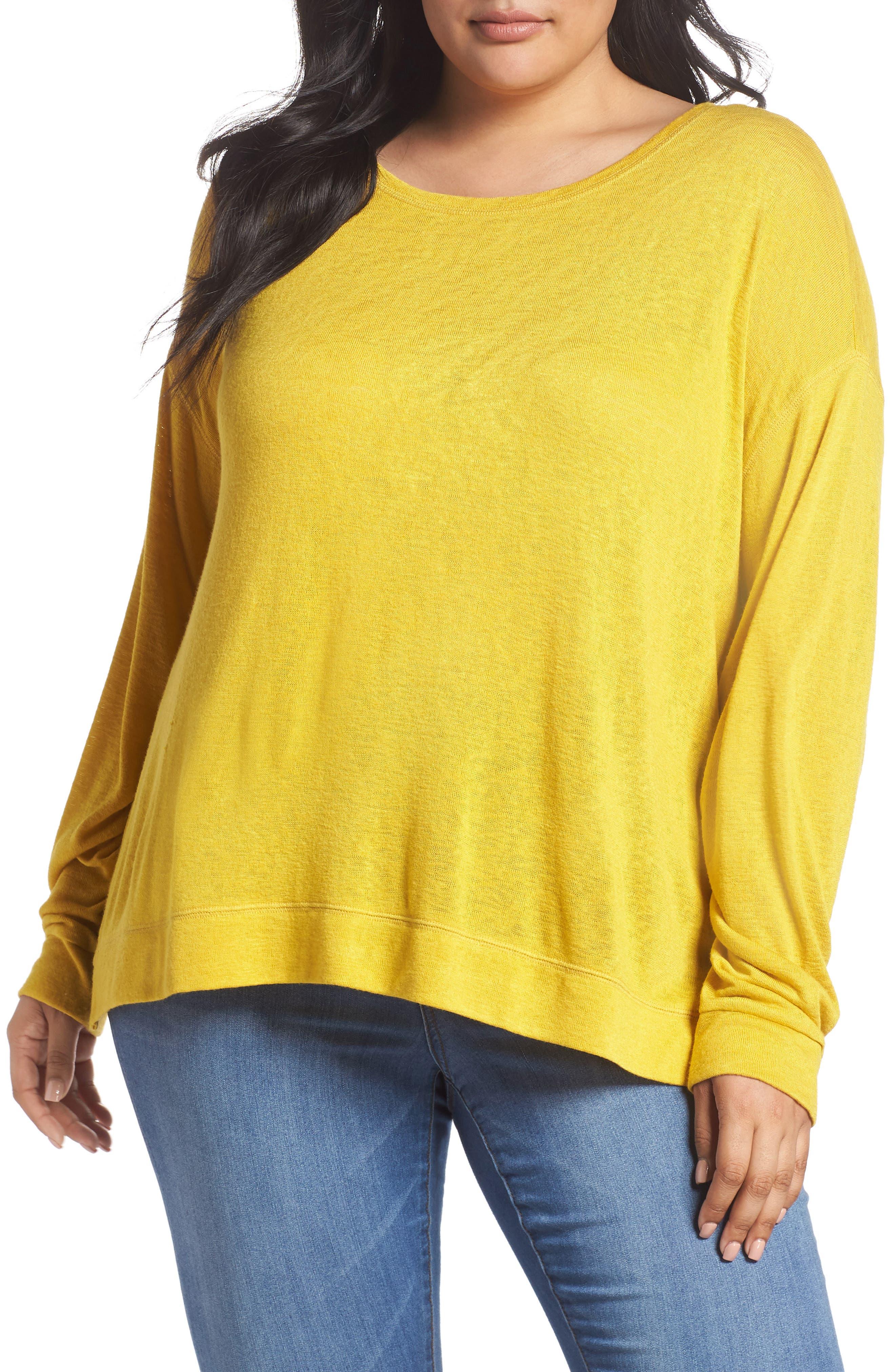 Tuck Sleeve Sweatshirt,                         Main,                         color, Yellow Tea