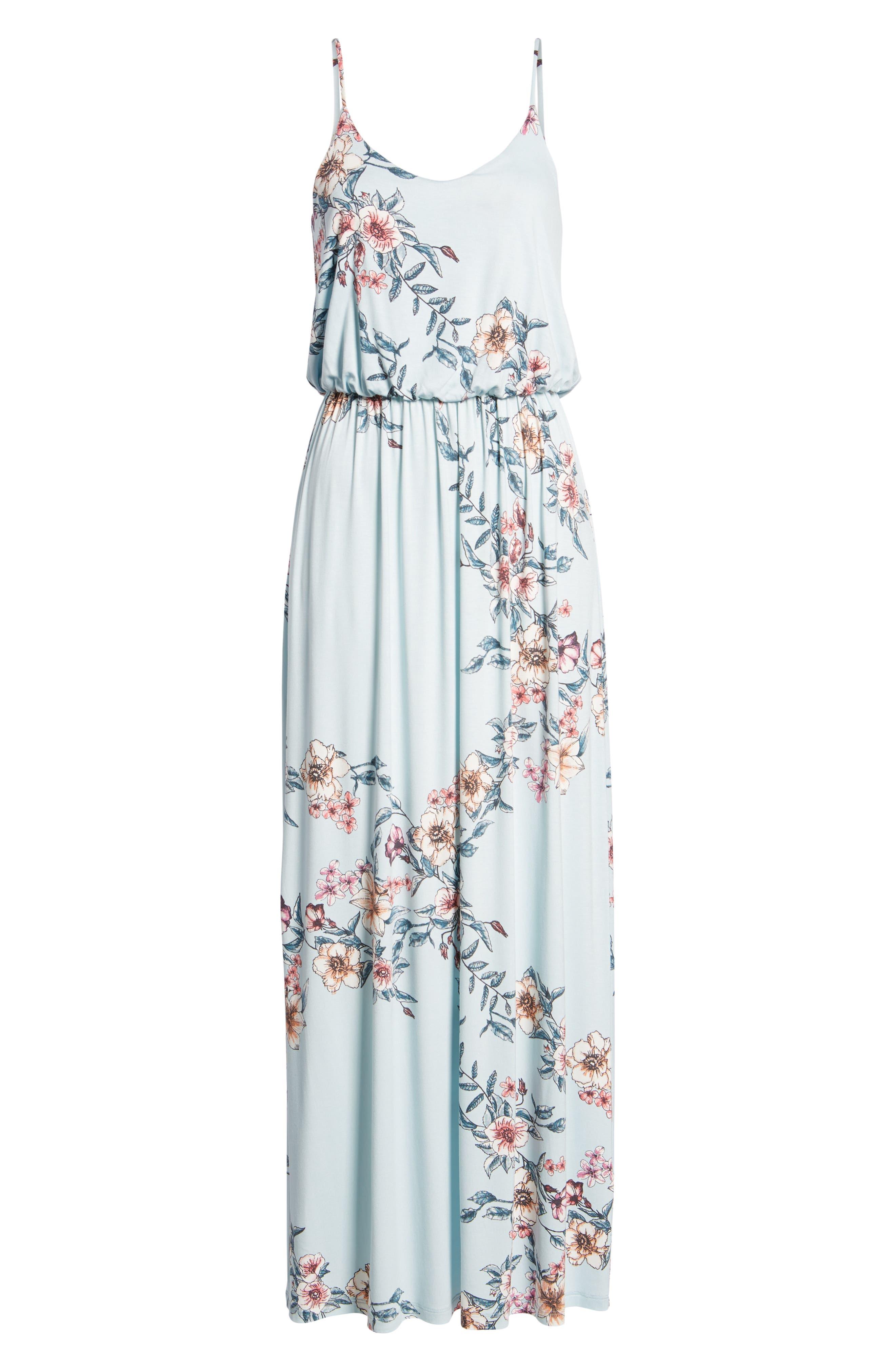 Knit Maxi Dress,                             Alternate thumbnail 7, color,                             Sky Rose