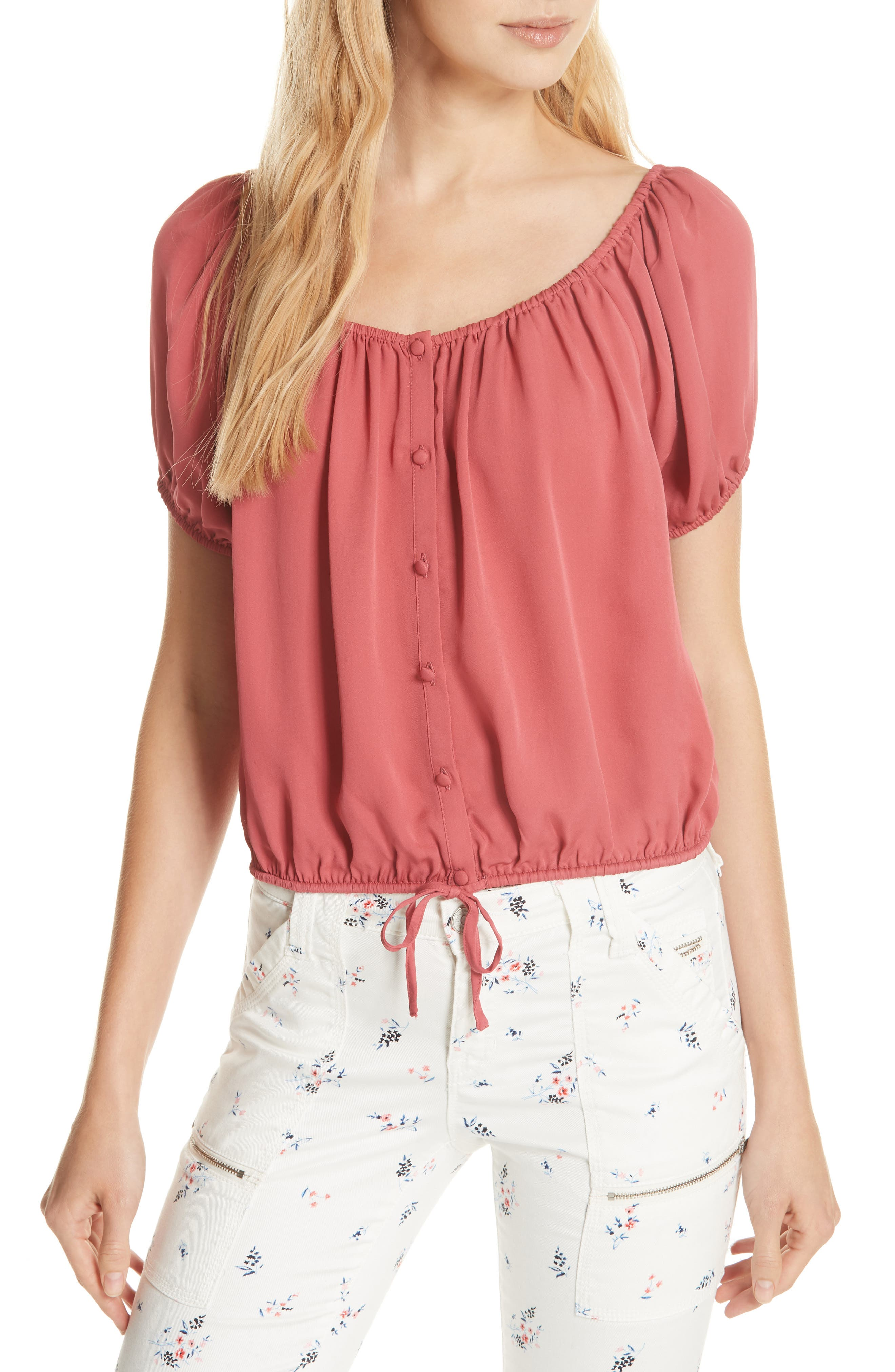 Blesina Tie Front Short Sleeve Silk Blouse,                         Main,                         color, West Rose