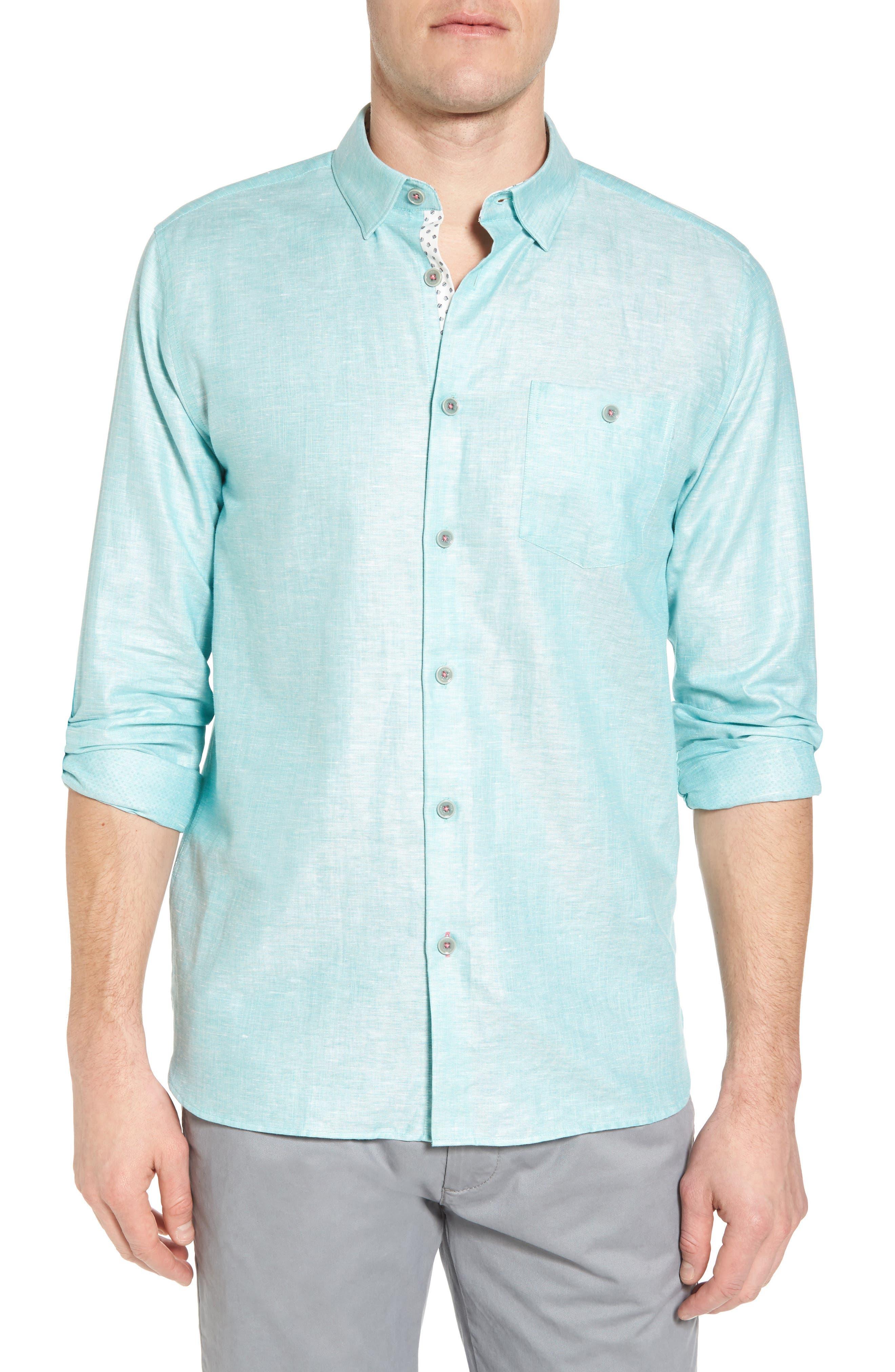 Linlins Herringbone Cotton & Linen Sport Shirt,                             Main thumbnail 1, color,                             Green