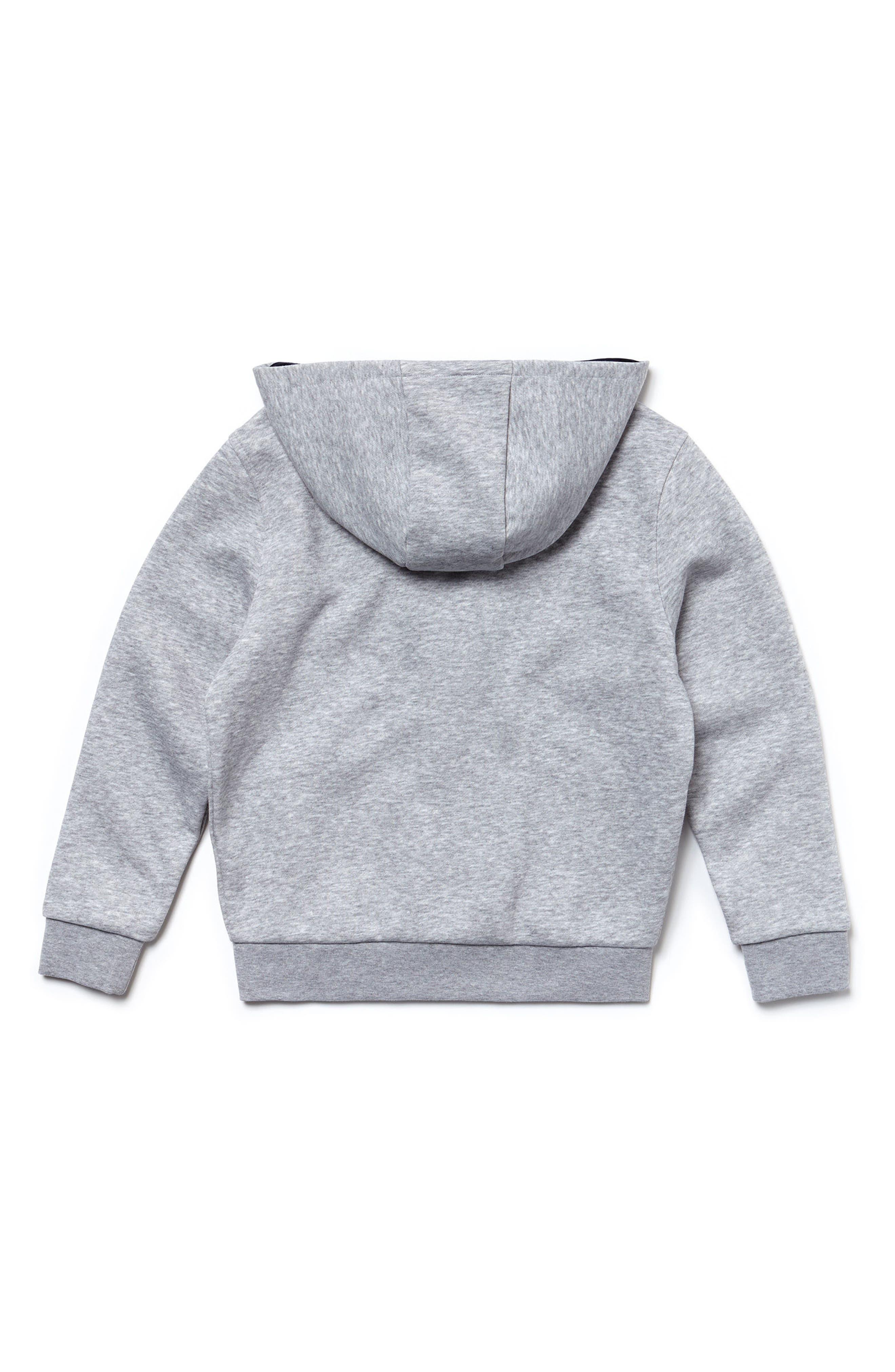 Sporty Fleece Full Zip Hoodie,                             Alternate thumbnail 2, color,                             Silver Grey Chine