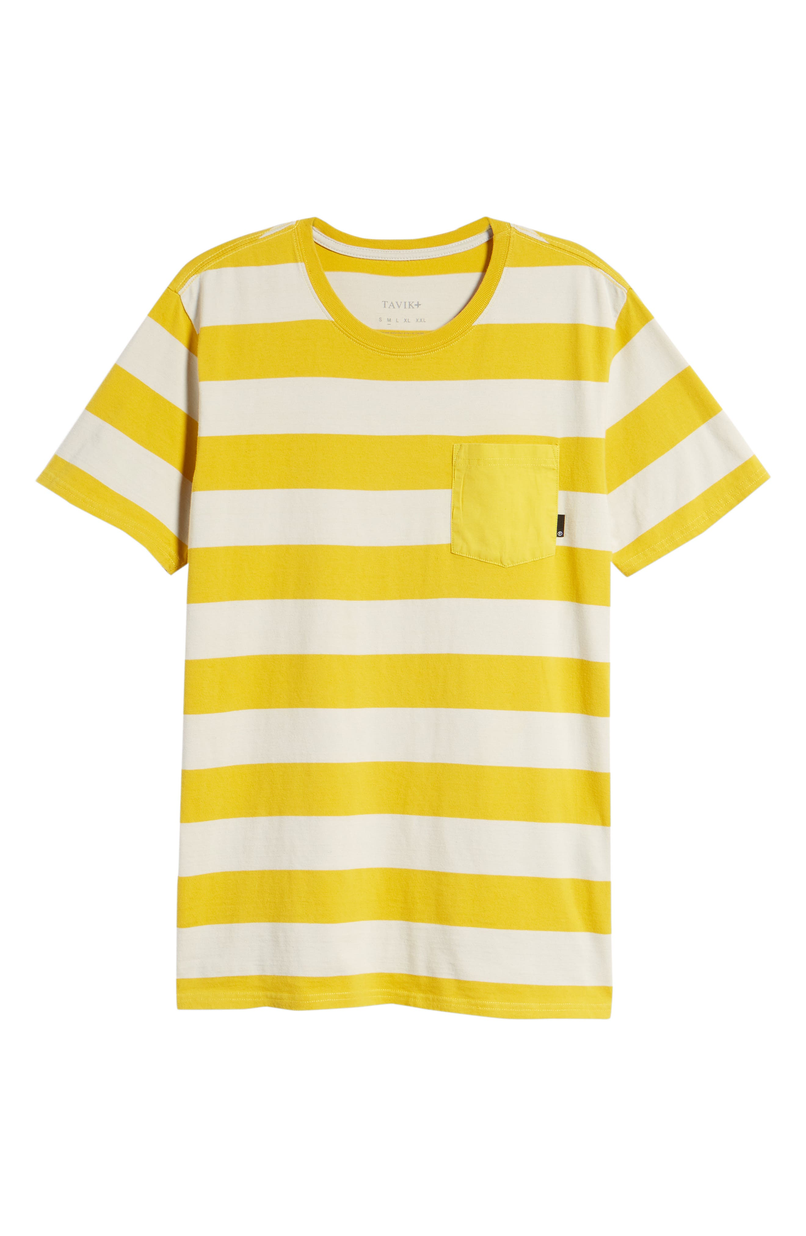 Broadcast Pocket T-Shirt,                             Alternate thumbnail 3, color,                             Natural/Mustard Yellow Stripe
