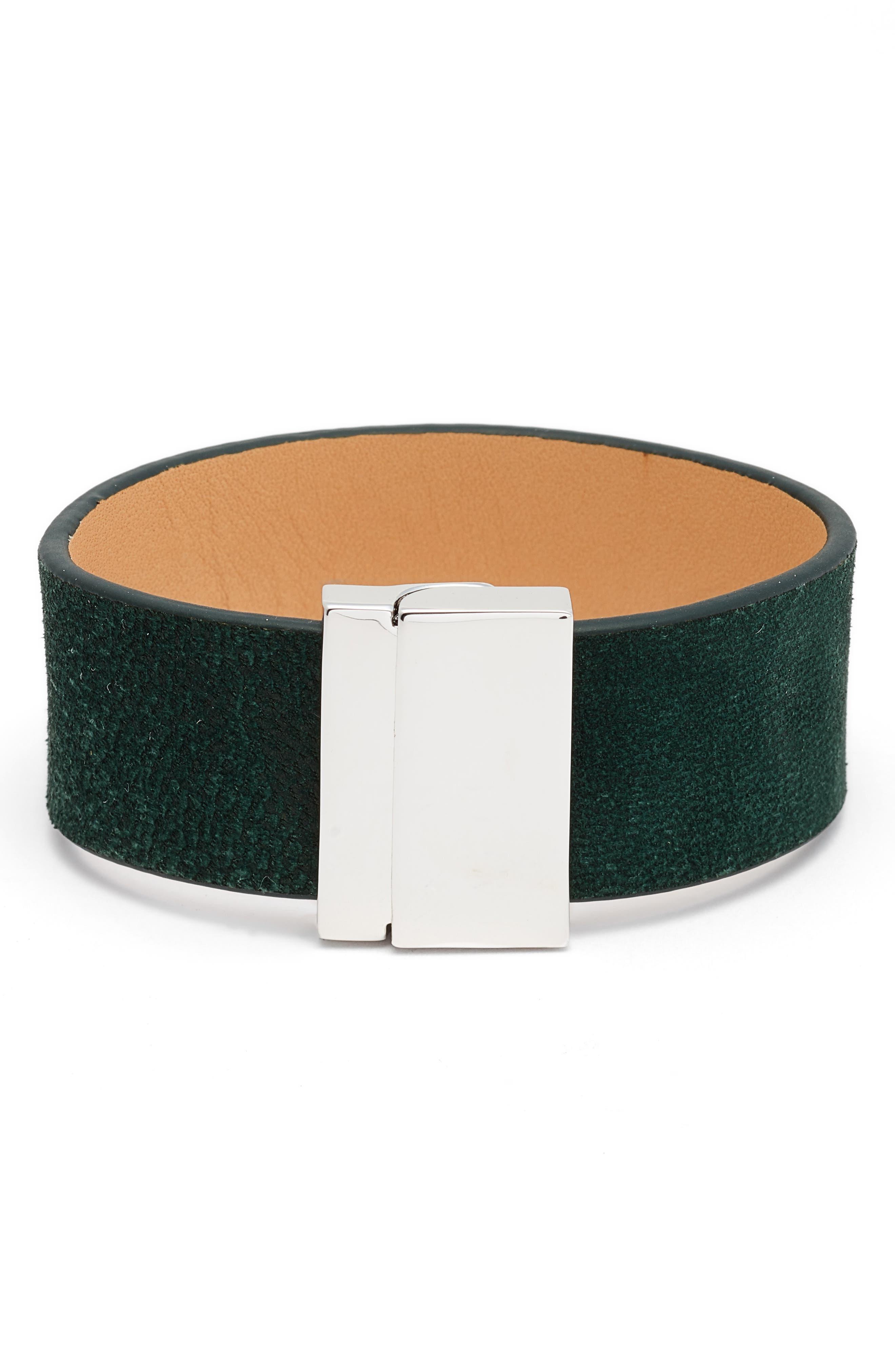Leather Strap Bracelet,                         Main,                         color, Silver