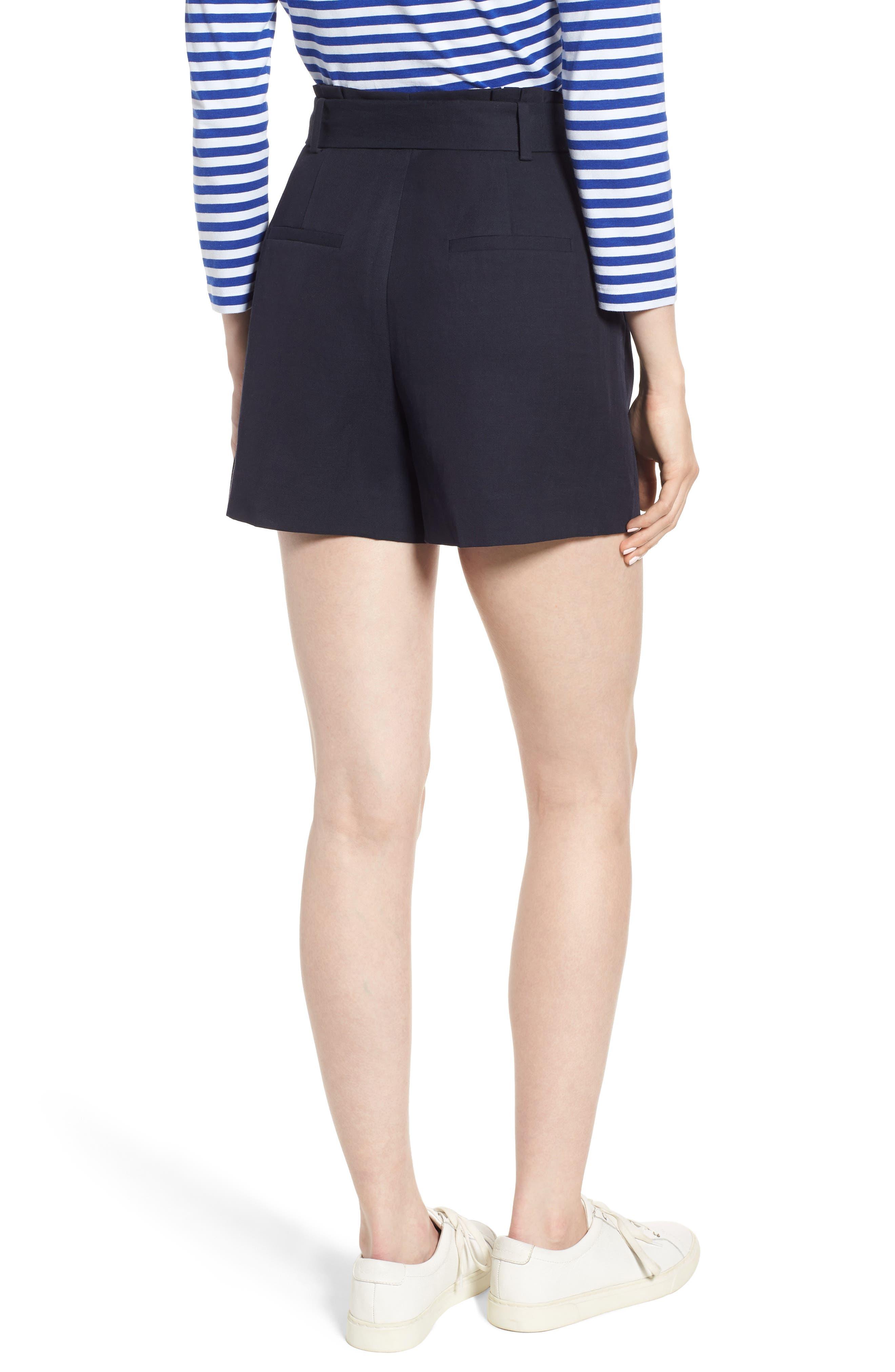 Paperbag Waist Linen & Cotton Blend Shorts,                             Alternate thumbnail 2, color,                             Navy Night