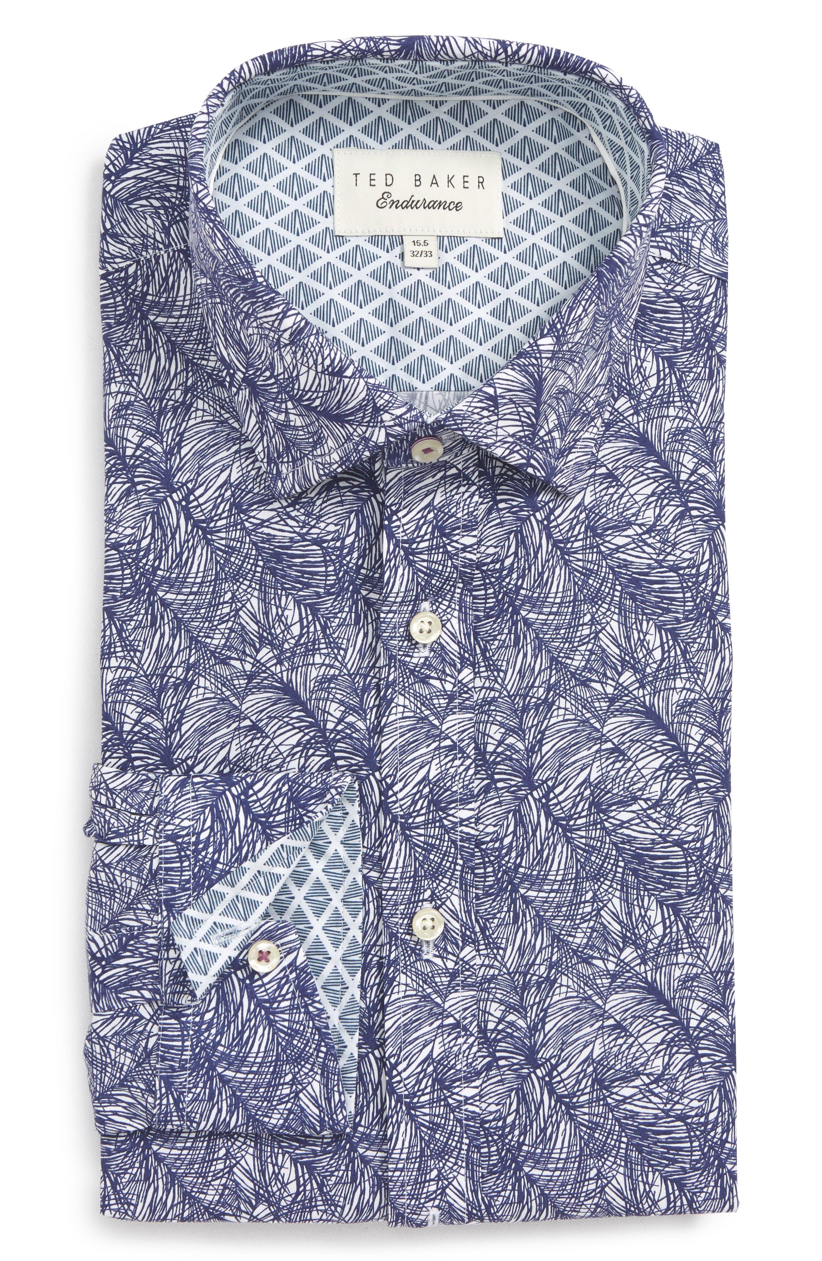 Messera Trim Fit Print Dress Shirt,                         Main,                         color, Navy