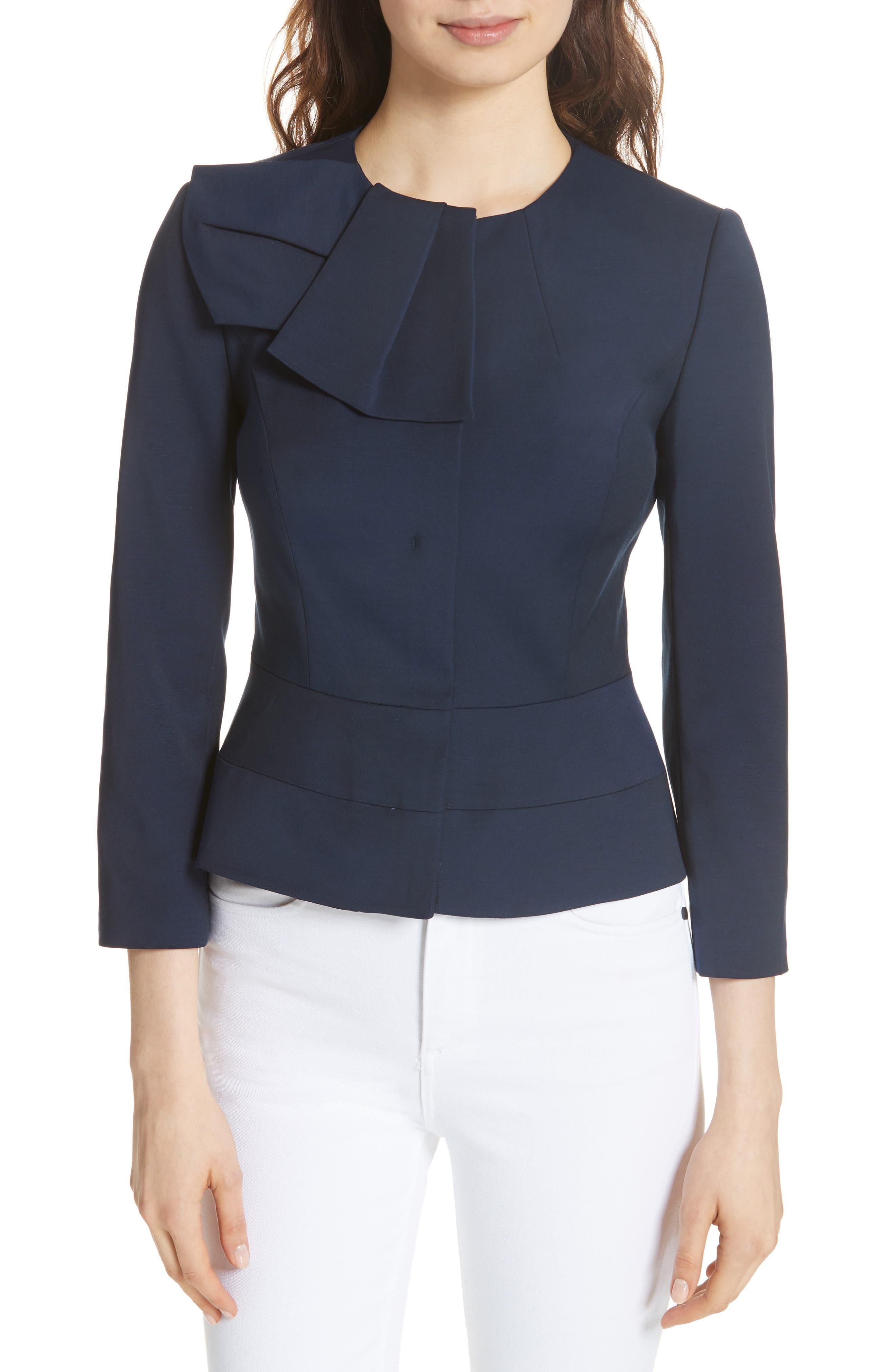 Rayal Bow Neck Peplum Jacket,                         Main,                         color, Dark Blue
