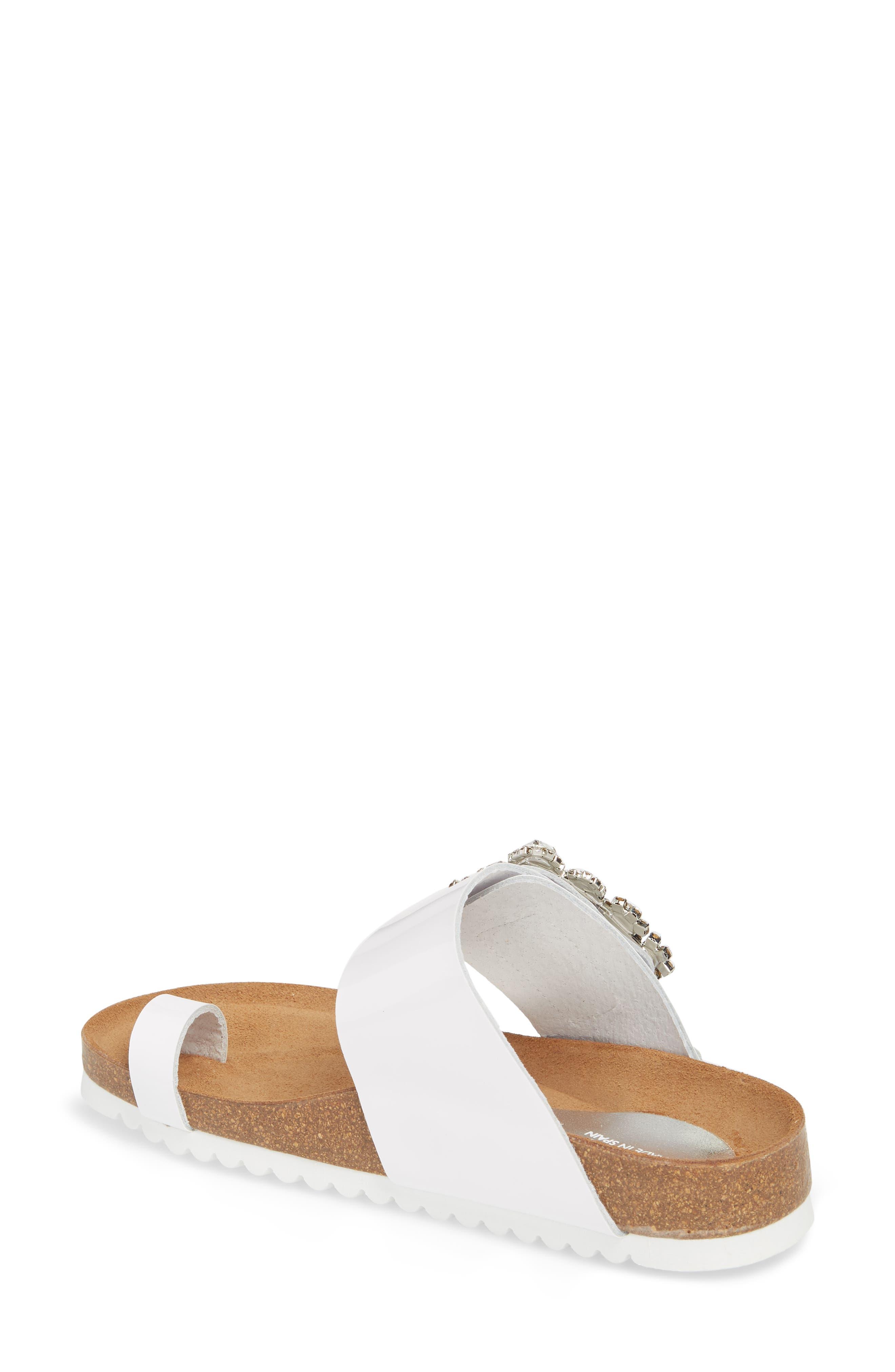 Bianca Embellished Slide Sandal,                             Alternate thumbnail 2, color,                             White Patent/ Silver