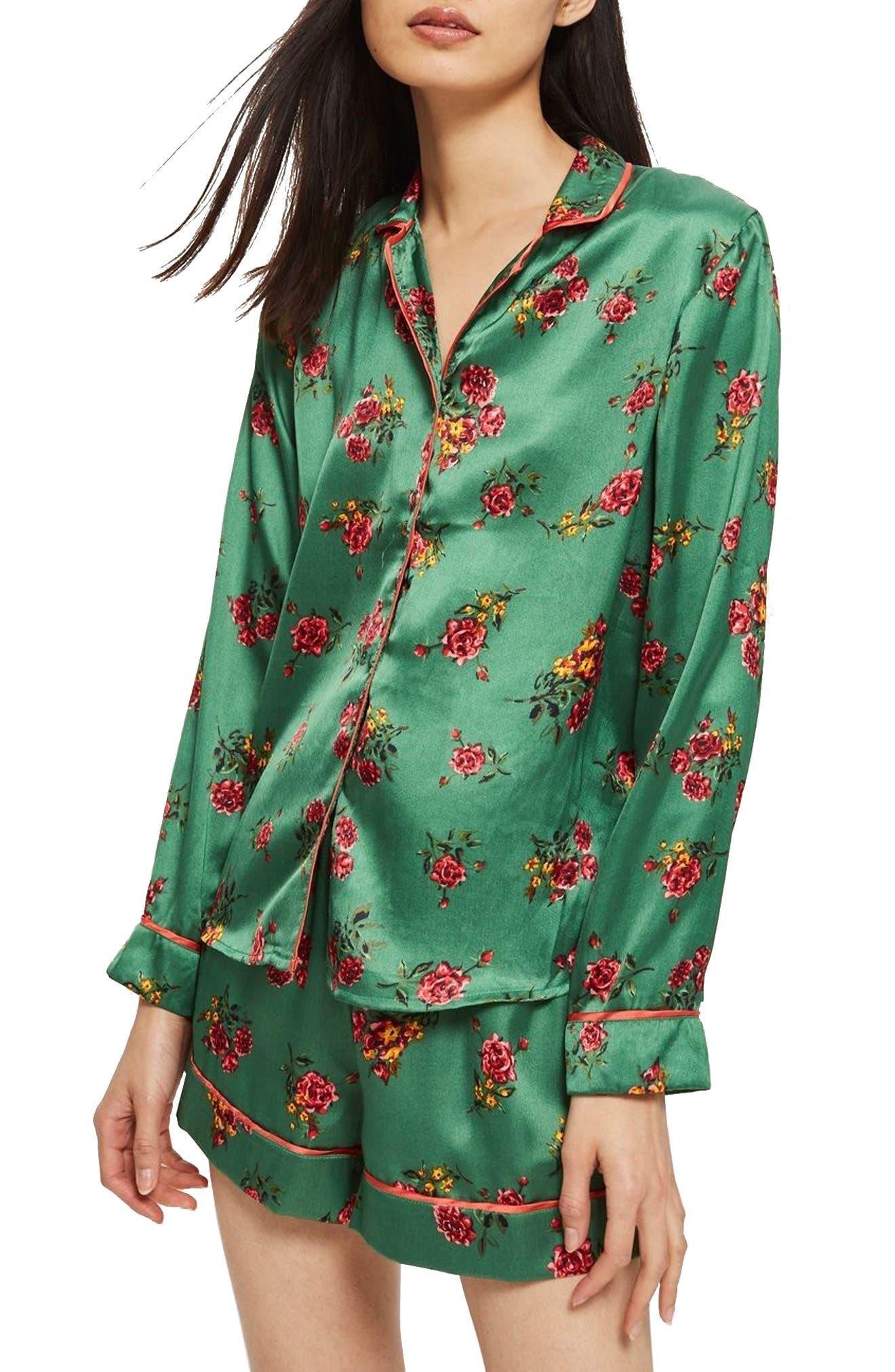 Floral Print Pajama Shirt,                         Main,                         color, Bright Green Multi