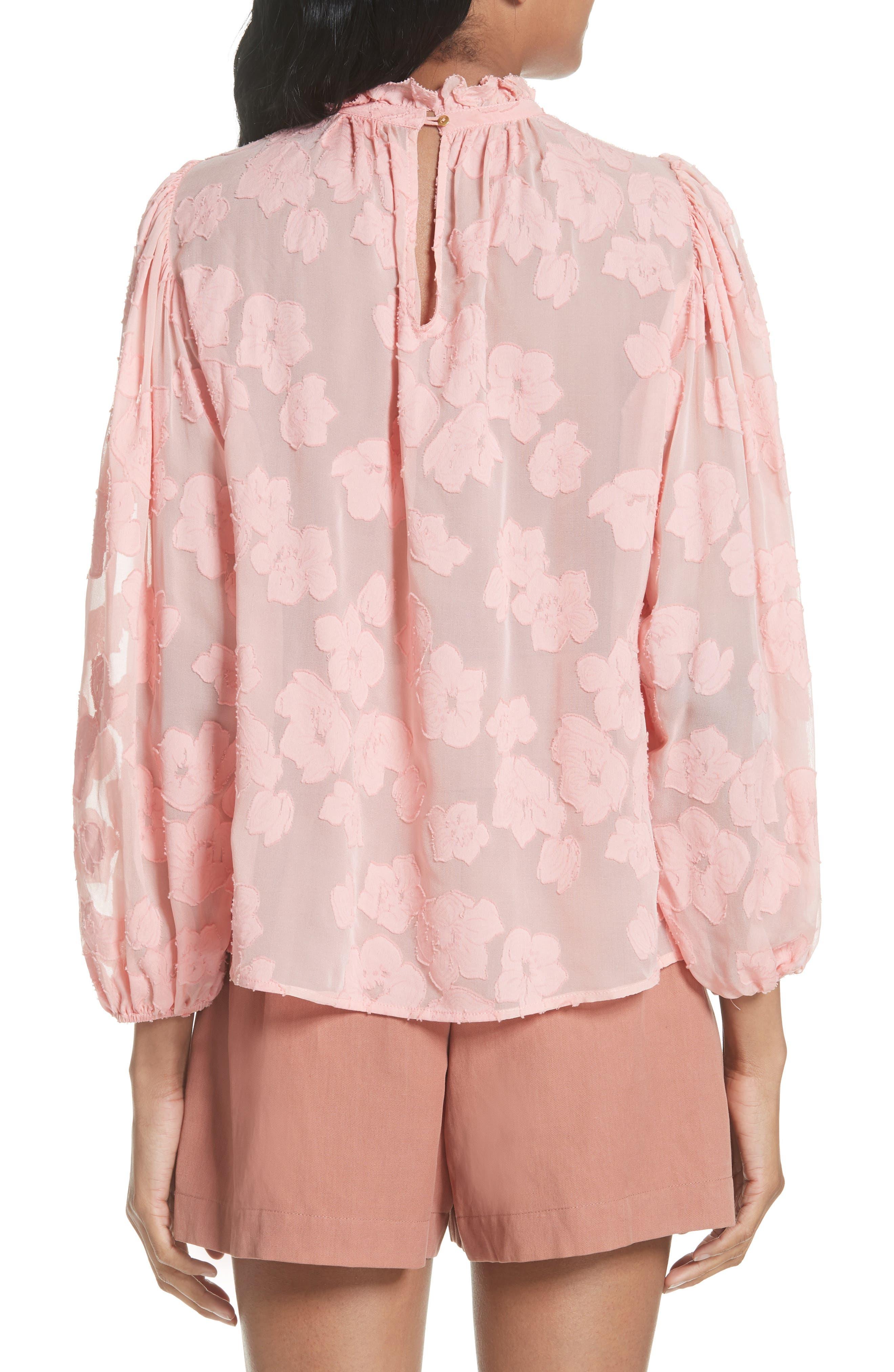 Sandrine Silk & Cotton Jacquard Blouse,                             Alternate thumbnail 2, color,                             Bubblegum