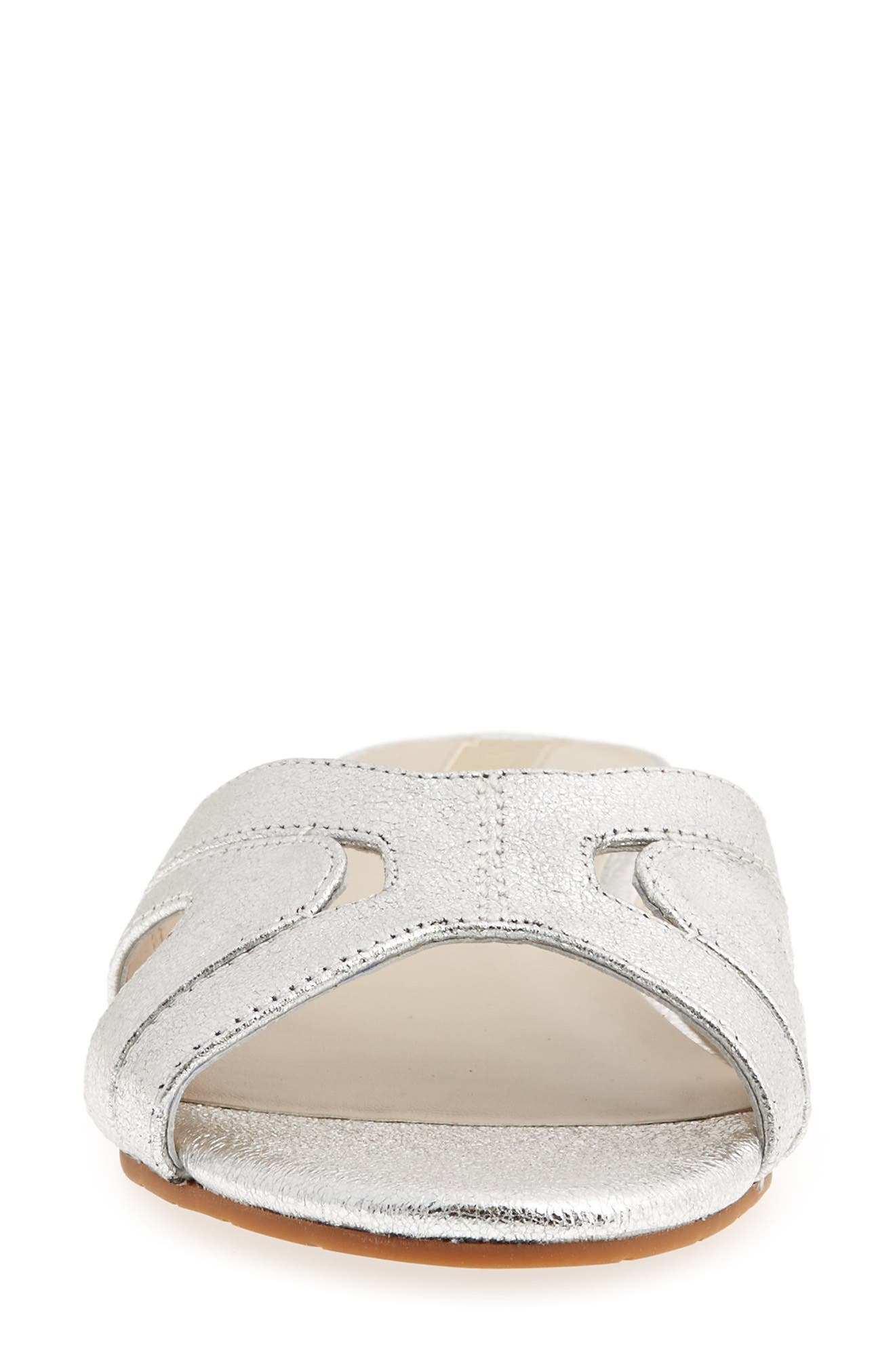 Viveca Slide Sandal,                             Alternate thumbnail 4, color,                             Silver Leather