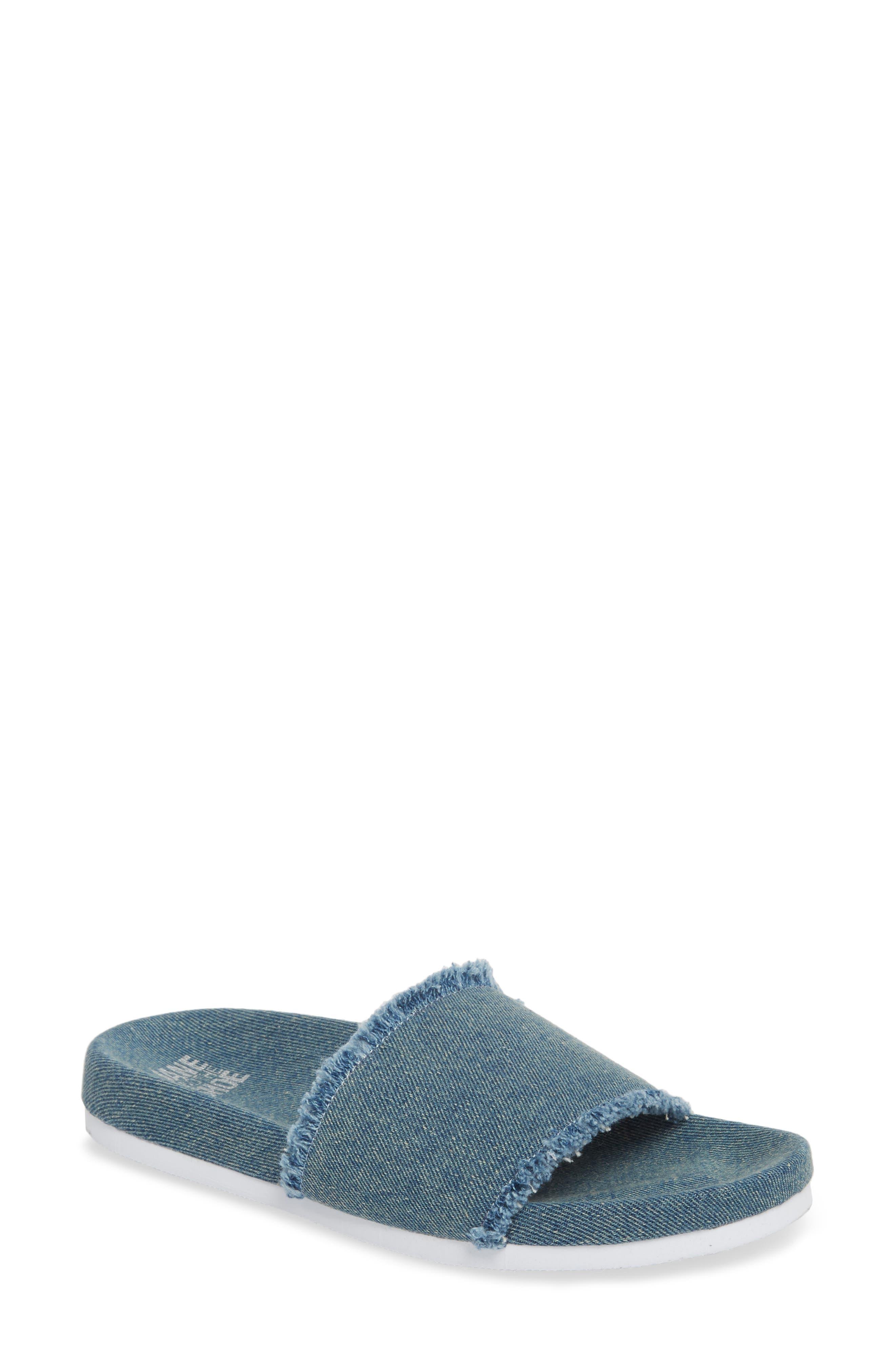 Kelsey Frayed Edge Slide Sandal,                         Main,                         color, Denim