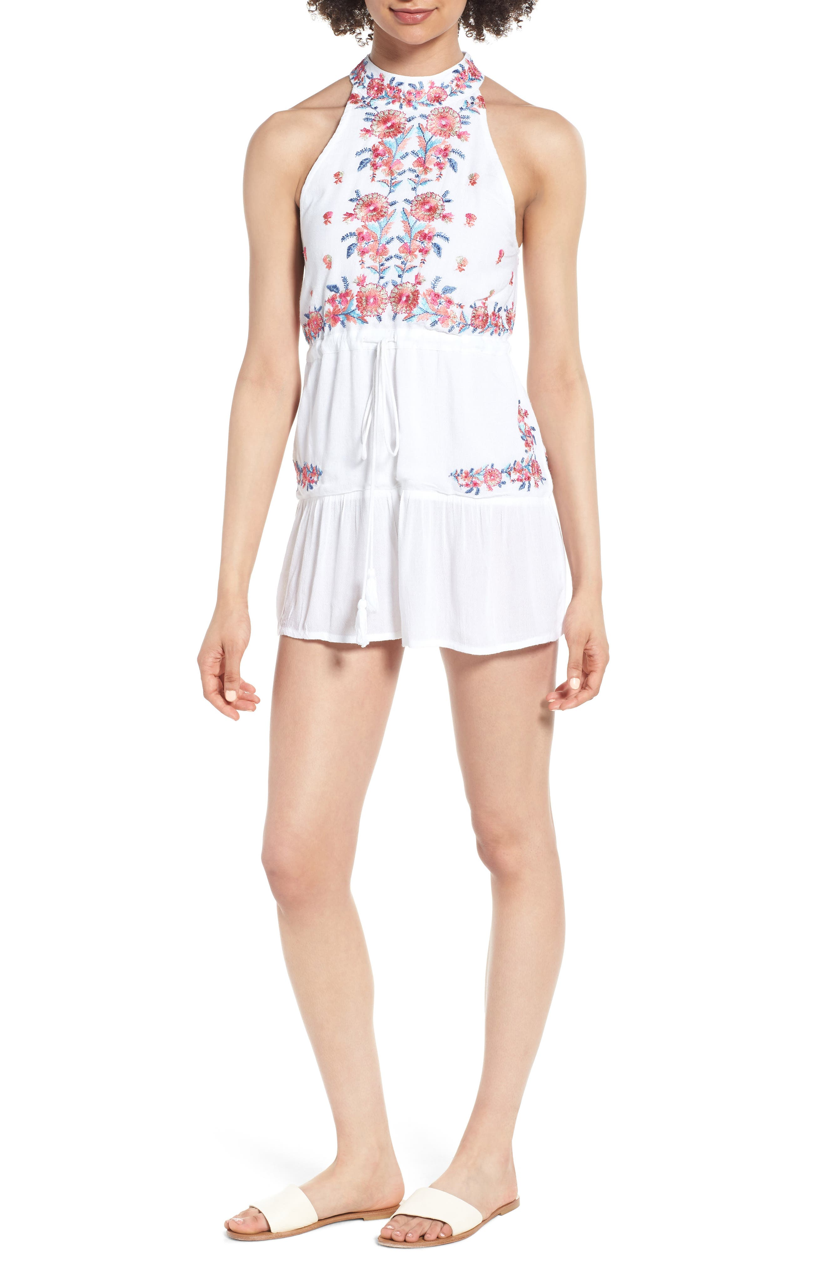 Mariah Embroidered Halter Neck Romper,                             Main thumbnail 1, color,                             Multi