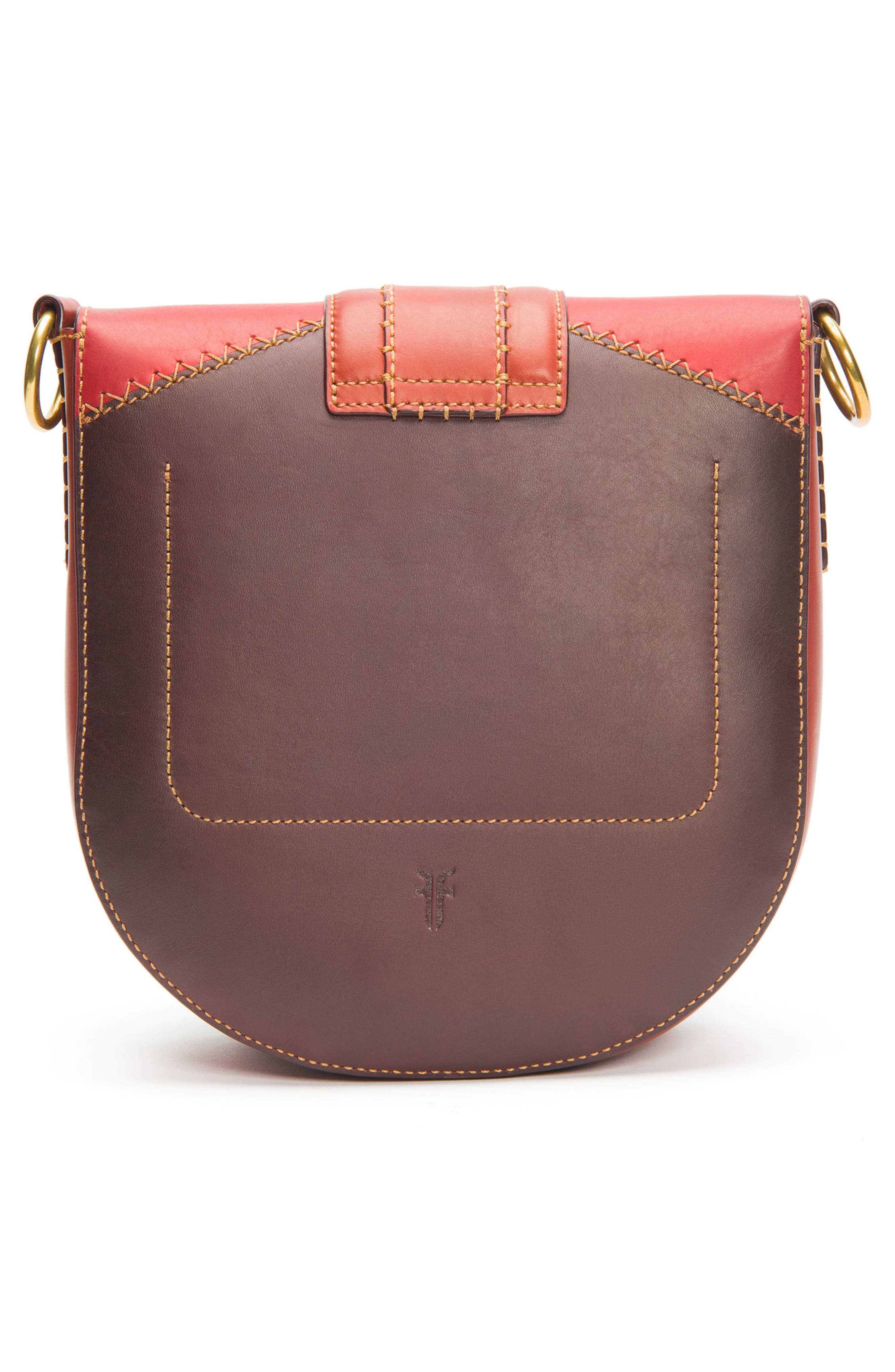 Ilana Colorblock Leather Saddle Bag,                             Alternate thumbnail 3, color,                             Red Clay Multi