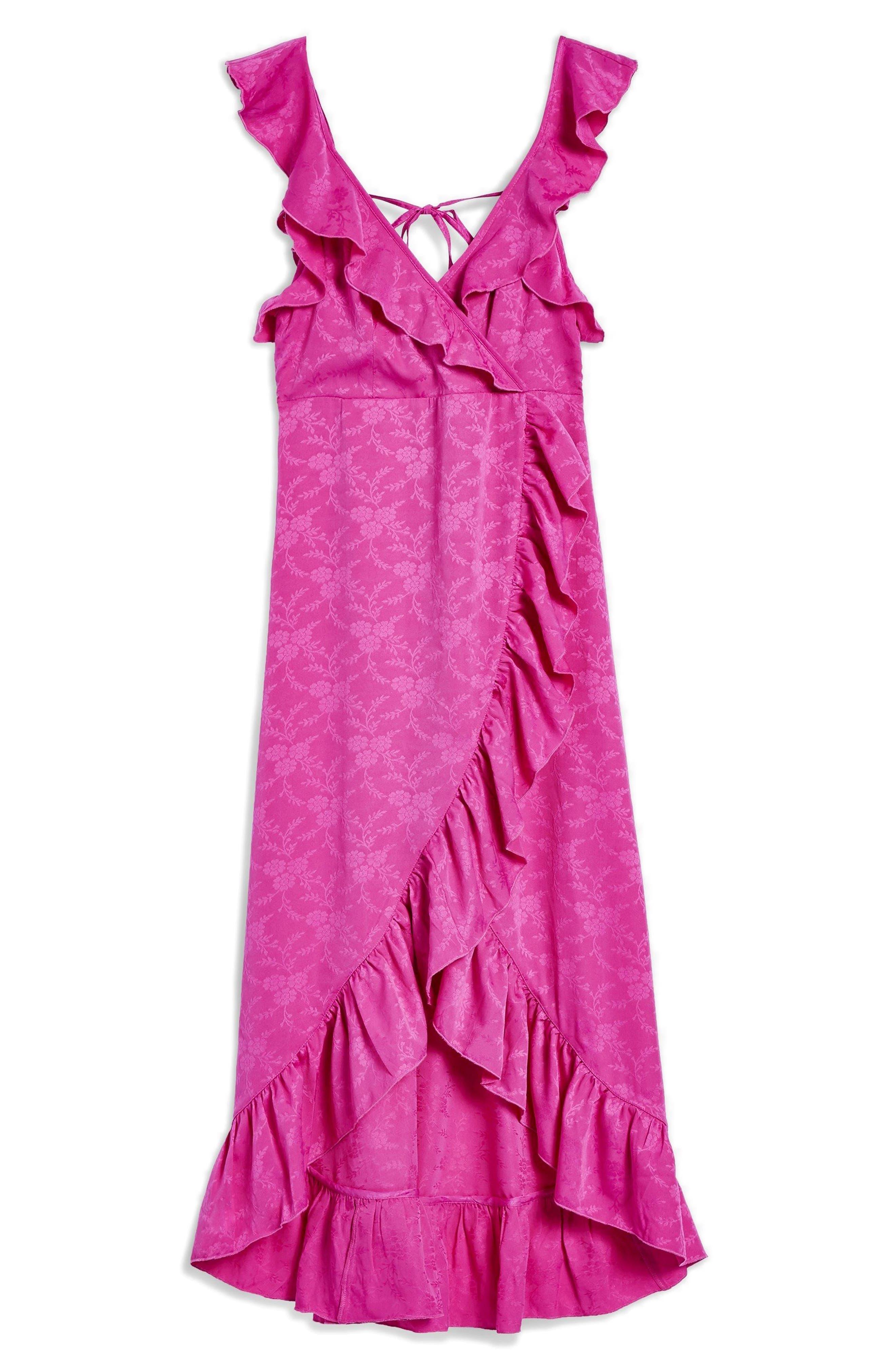 Jacquard Ruffle Faux Wrap Midi Dress,                             Alternate thumbnail 4, color,                             Pink