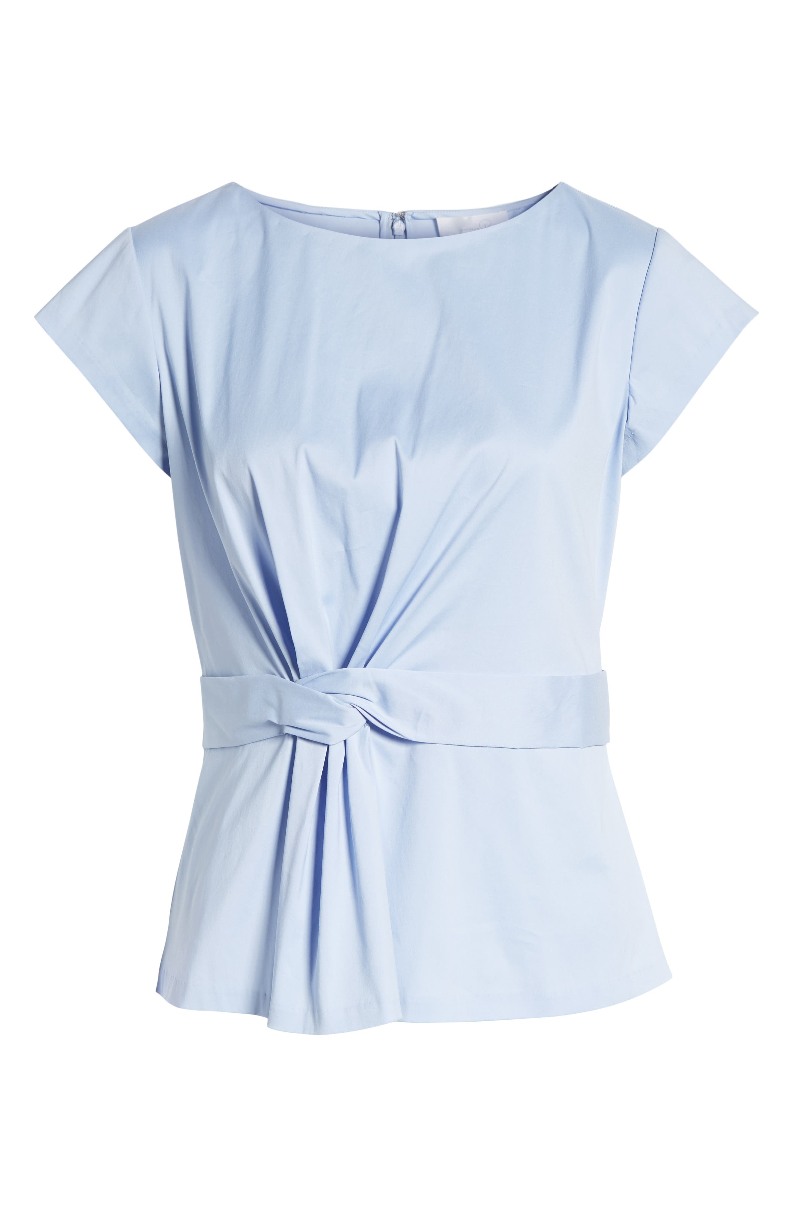 Knot Front Cotton Blend Poplin Blouse,                             Alternate thumbnail 6, color,                             Blue Stork