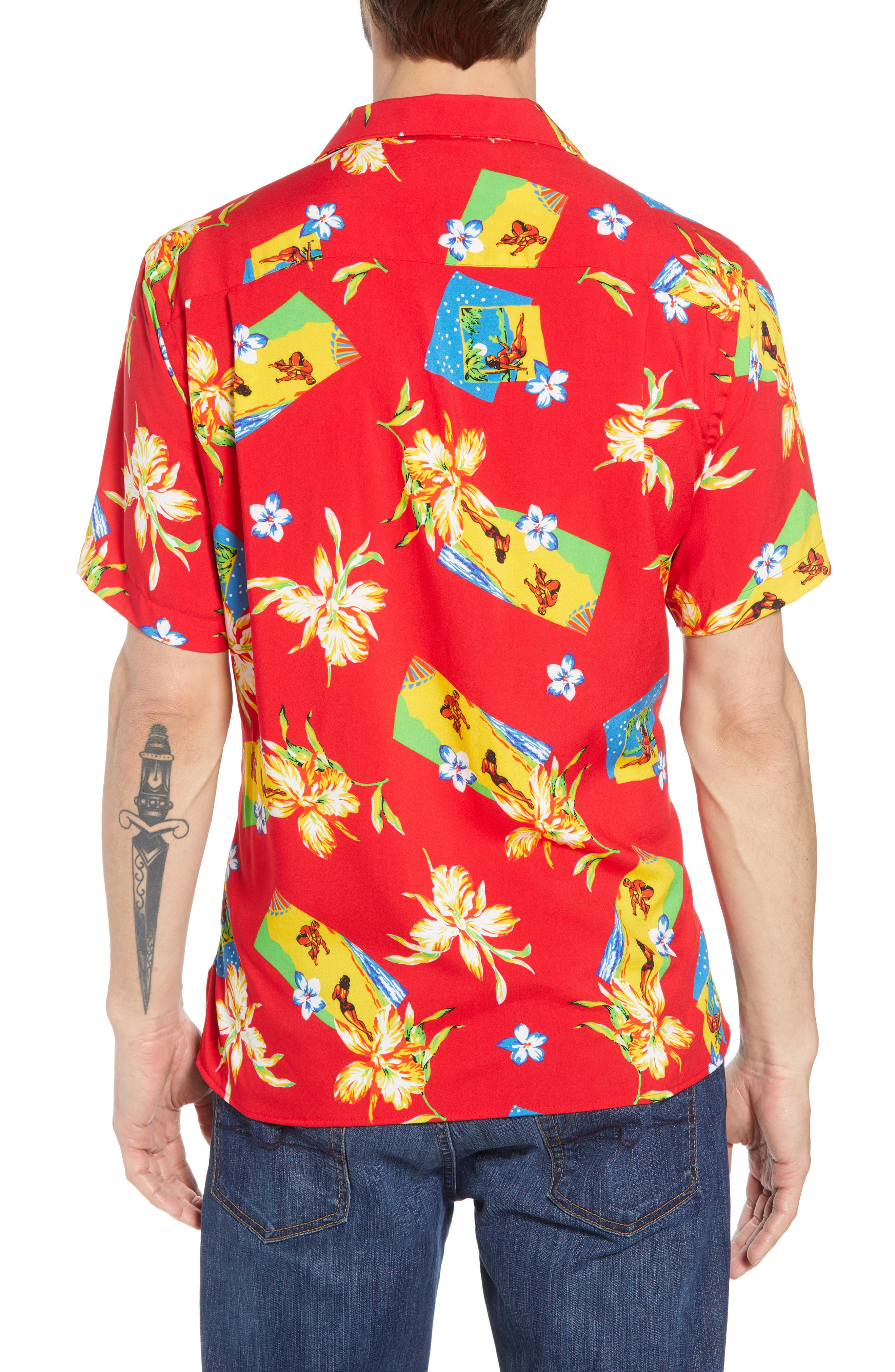 Print Camp Shirt,                             Alternate thumbnail 3, color,                             Red Aloha