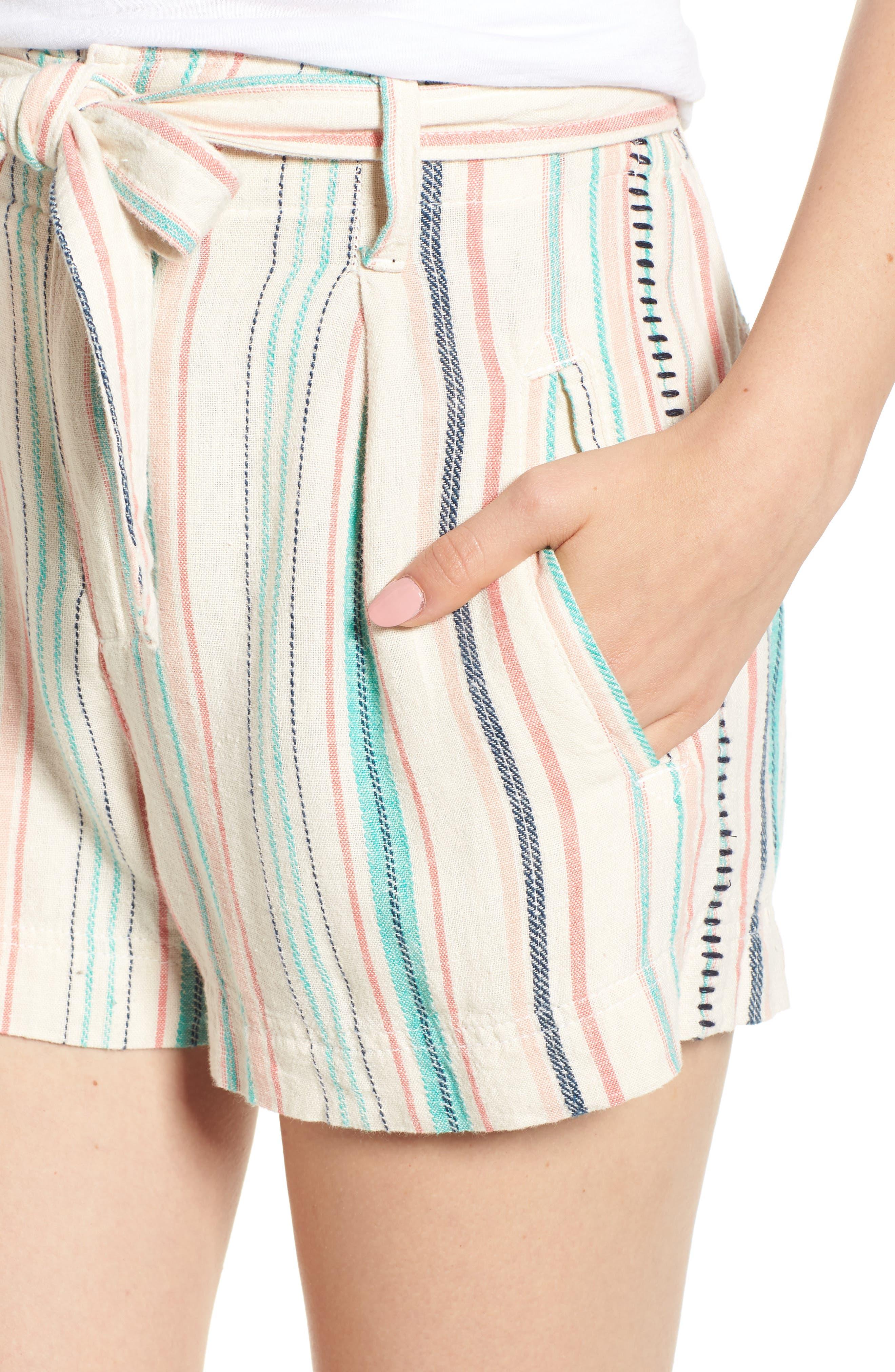 La Paz Stripe Twill Shorts,                             Alternate thumbnail 4, color,                             Multi