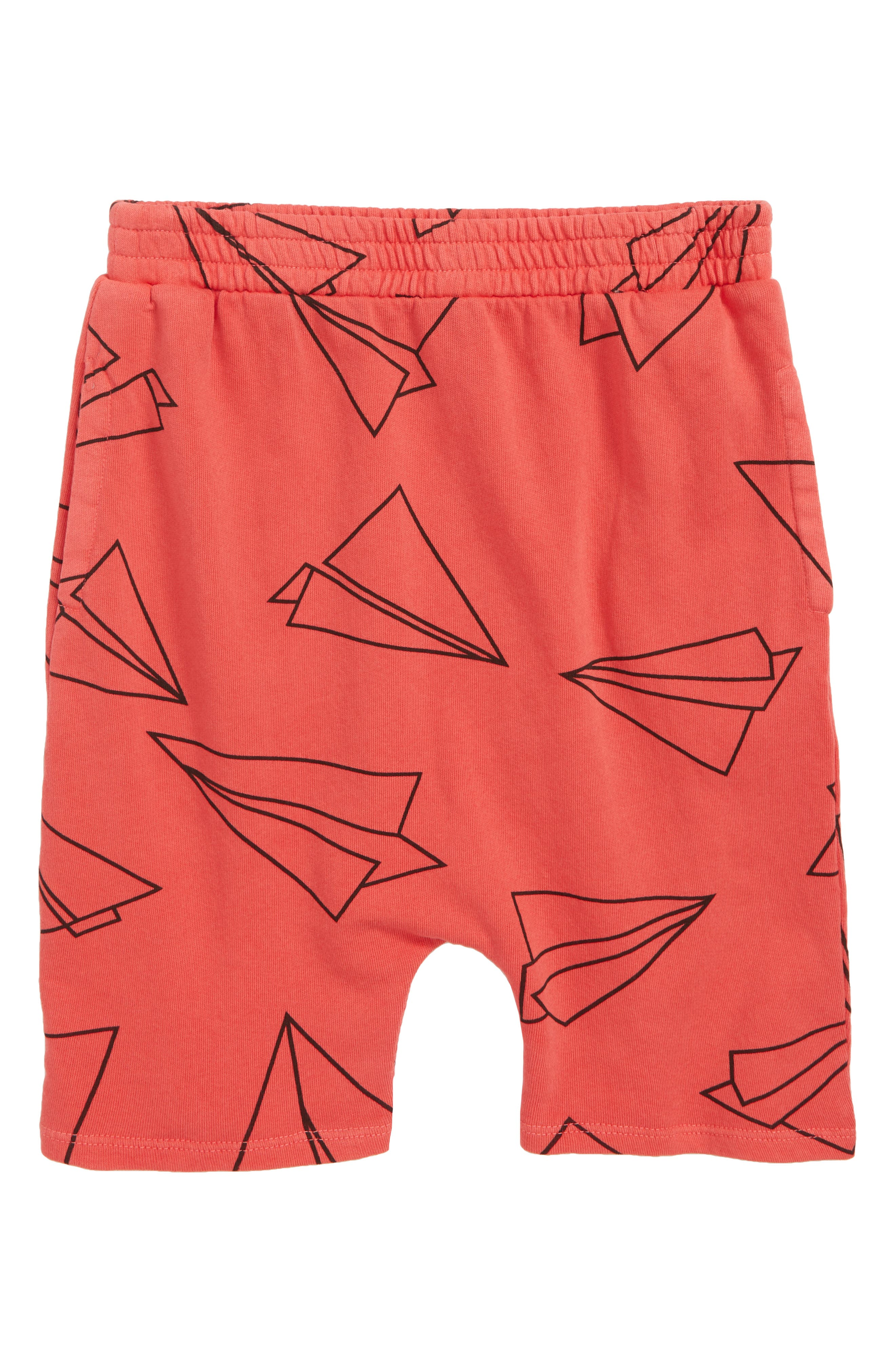 Print Shorts,                         Main,                         color, Red Hibiscus Airplanes