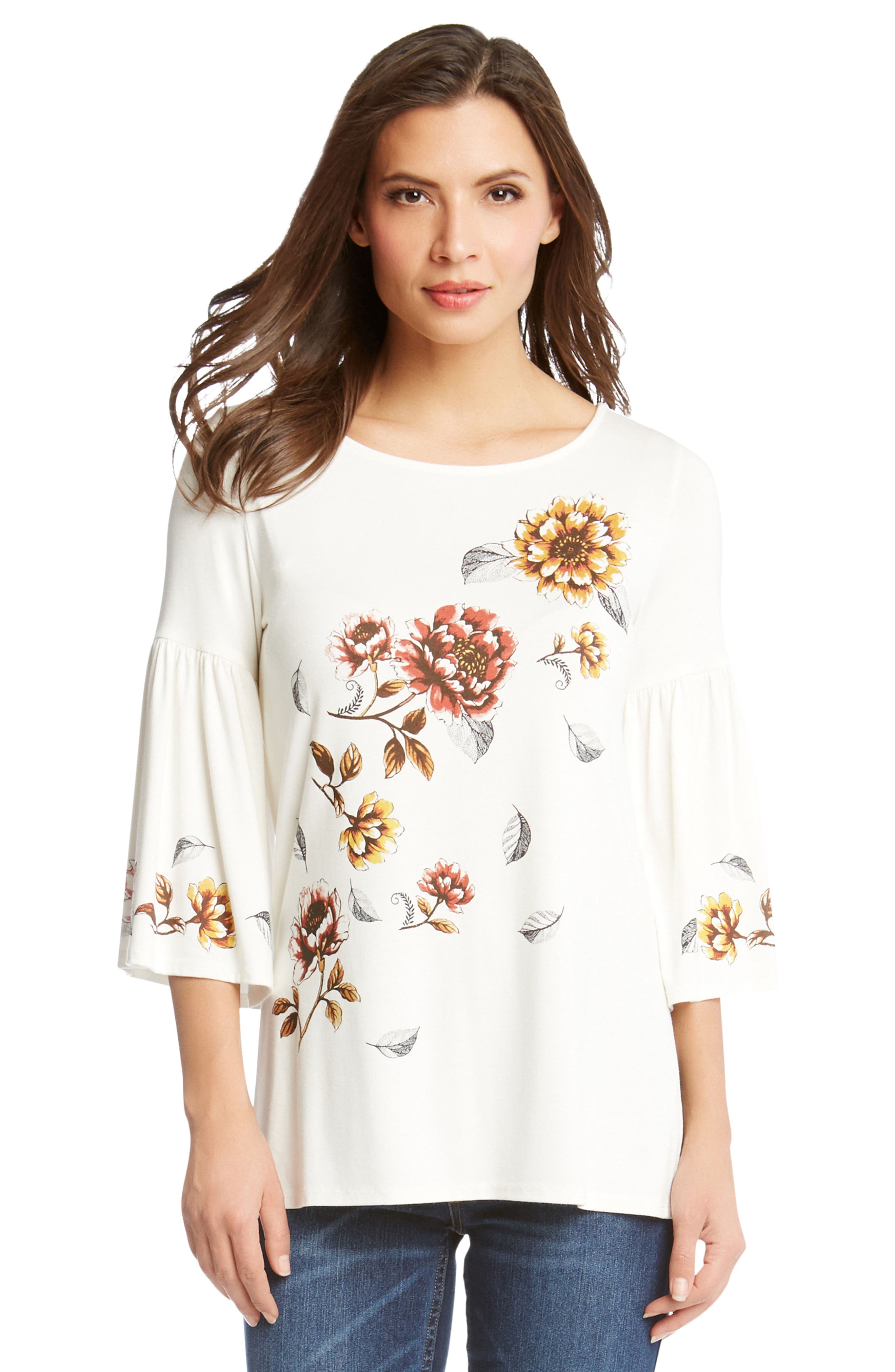 Bell Sleeve Floral Top,                             Alternate thumbnail 3, color,                             Cream
