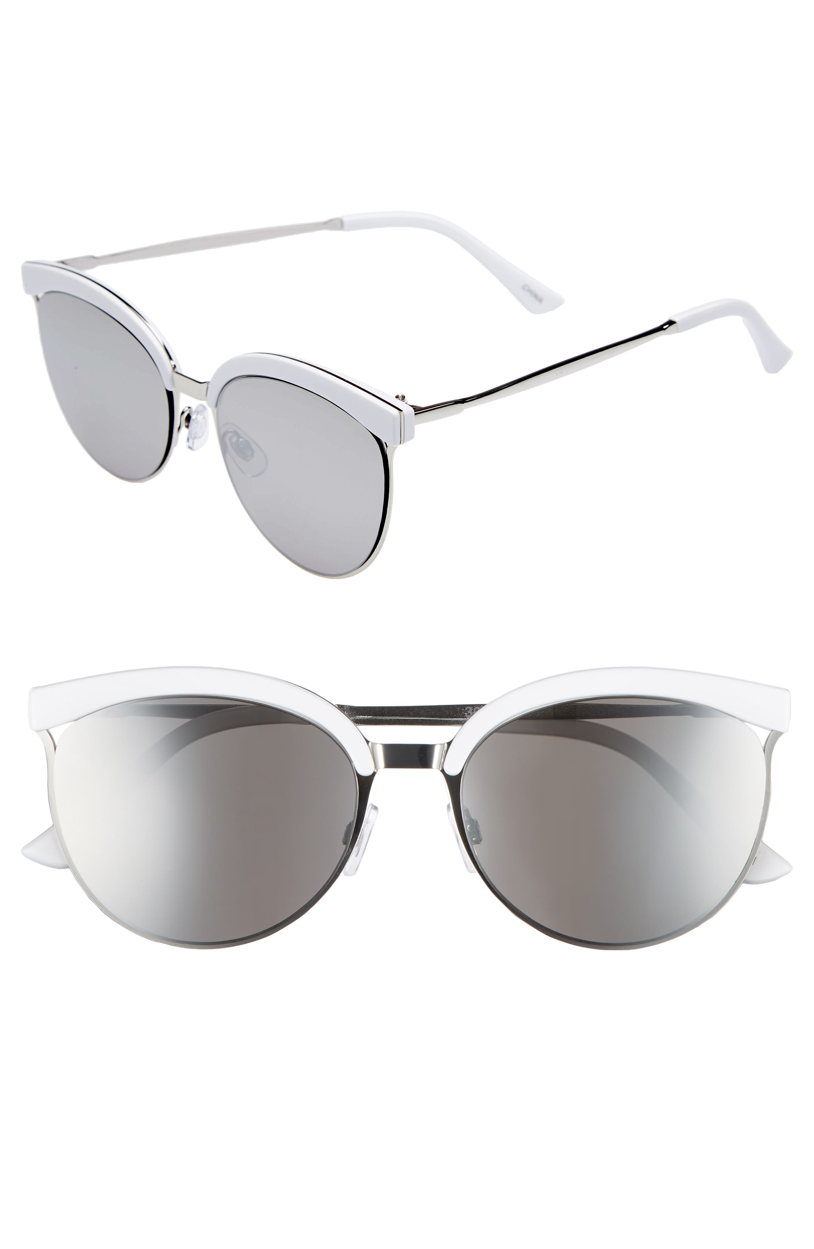 57mm Round Sunglasses,                             Main thumbnail 1, color,                             White/ Silver