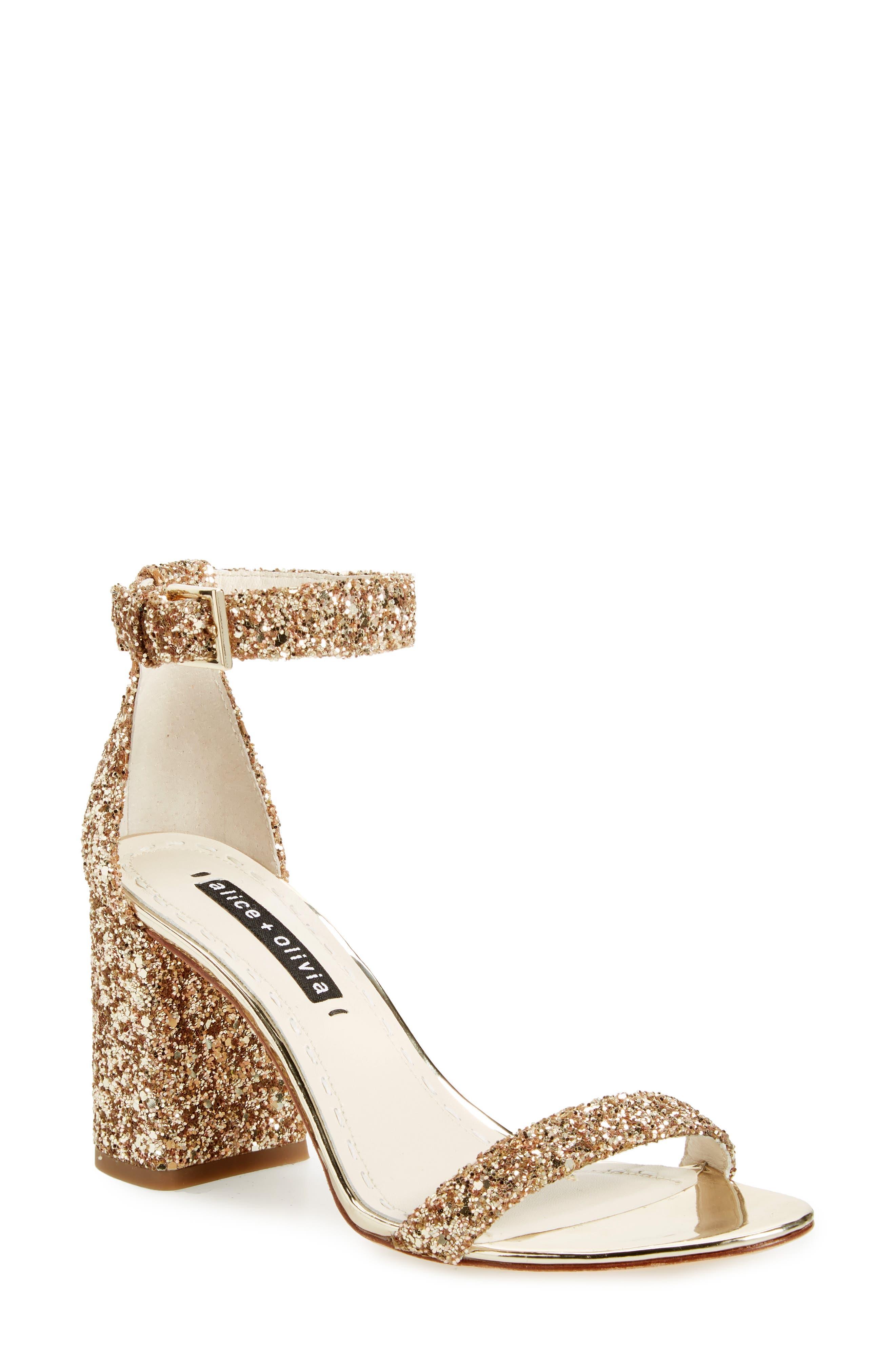 Lillian Glitter Ankle Strap Sandal,                             Main thumbnail 1, color,                             Gold