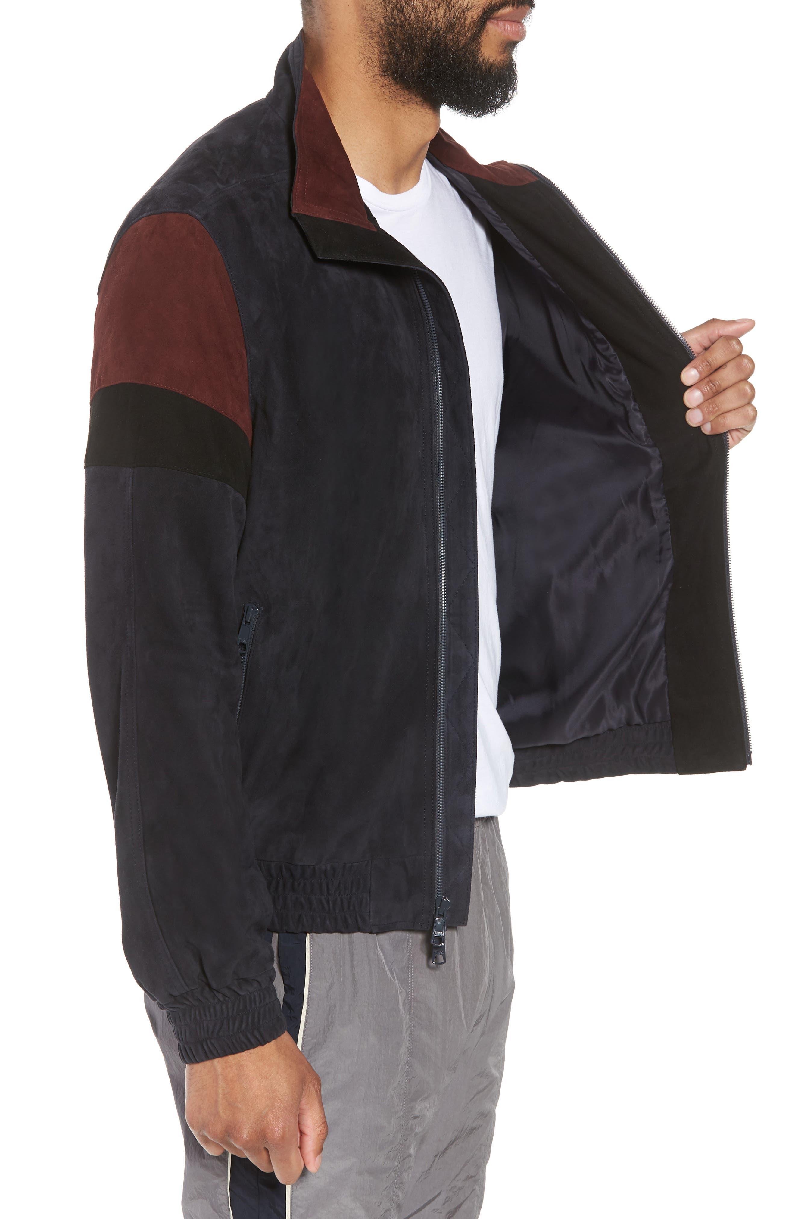 Colorblock Leather Track Jacket,                             Alternate thumbnail 3, color,                             New Coastal
