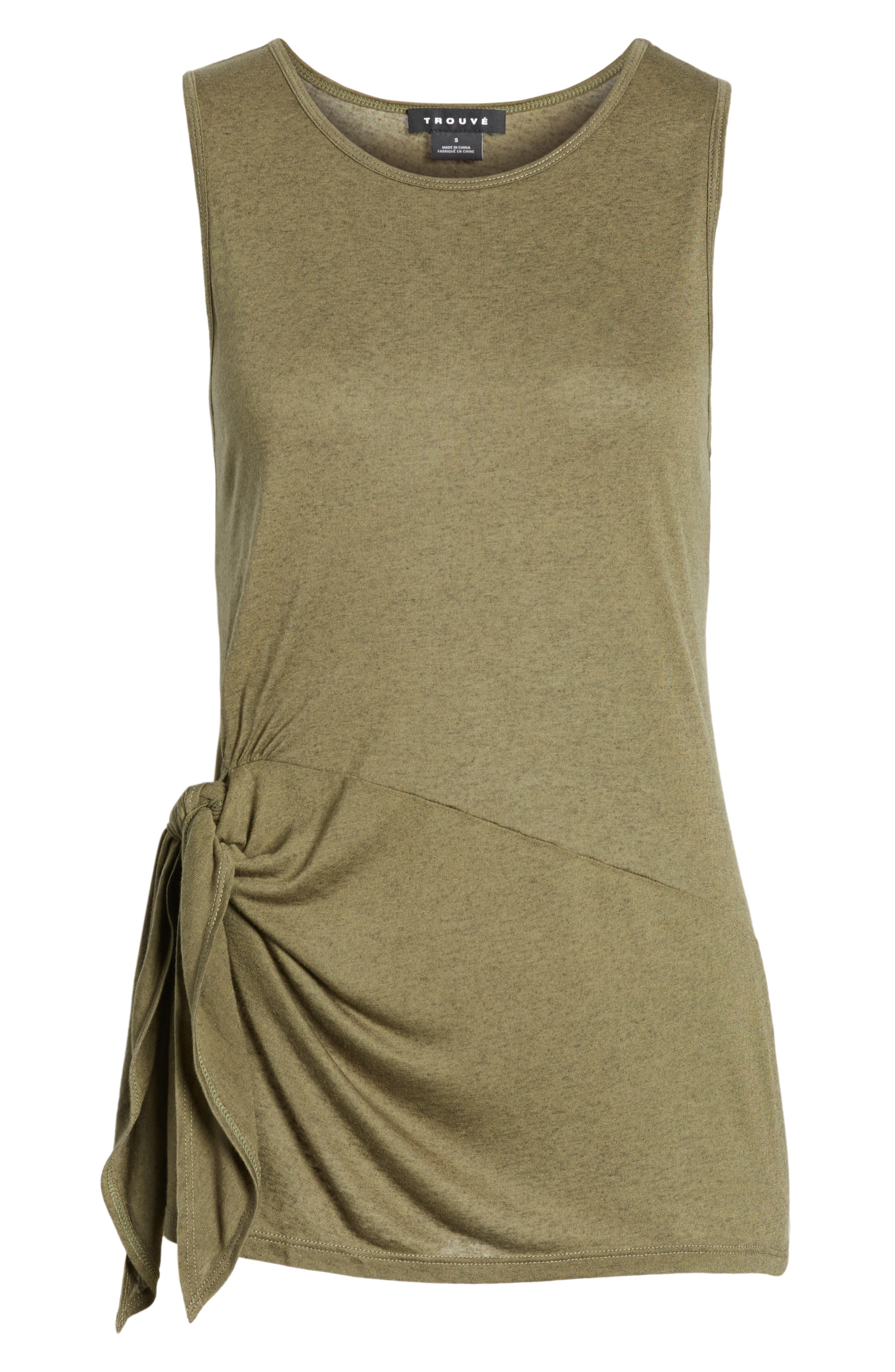 Side Tie Knit Top,                             Alternate thumbnail 4, color,                             Olive Sarma