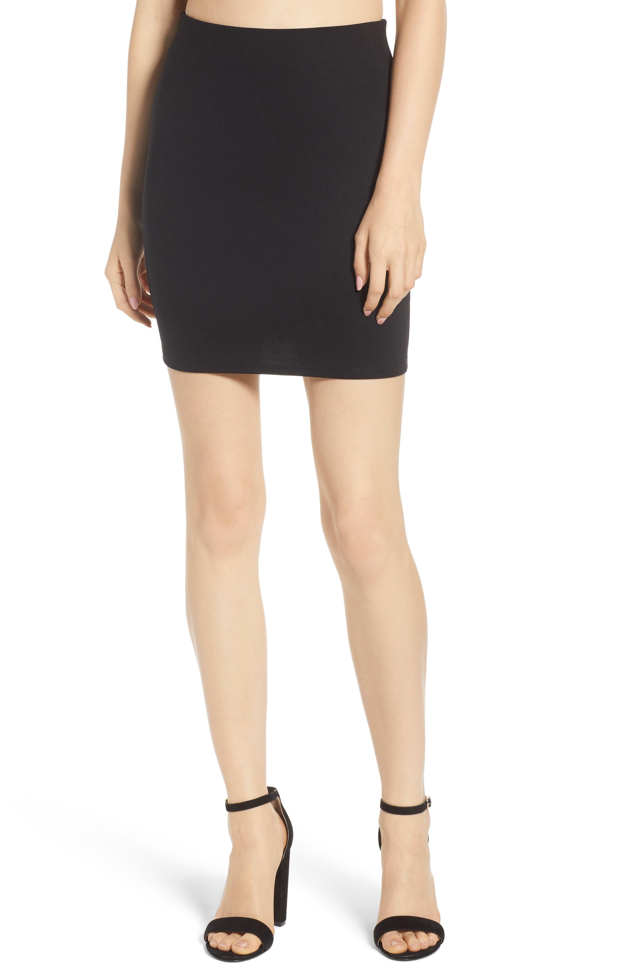 Stretch Ponte Mini Skirt,                             Main thumbnail 1, color,                             Black