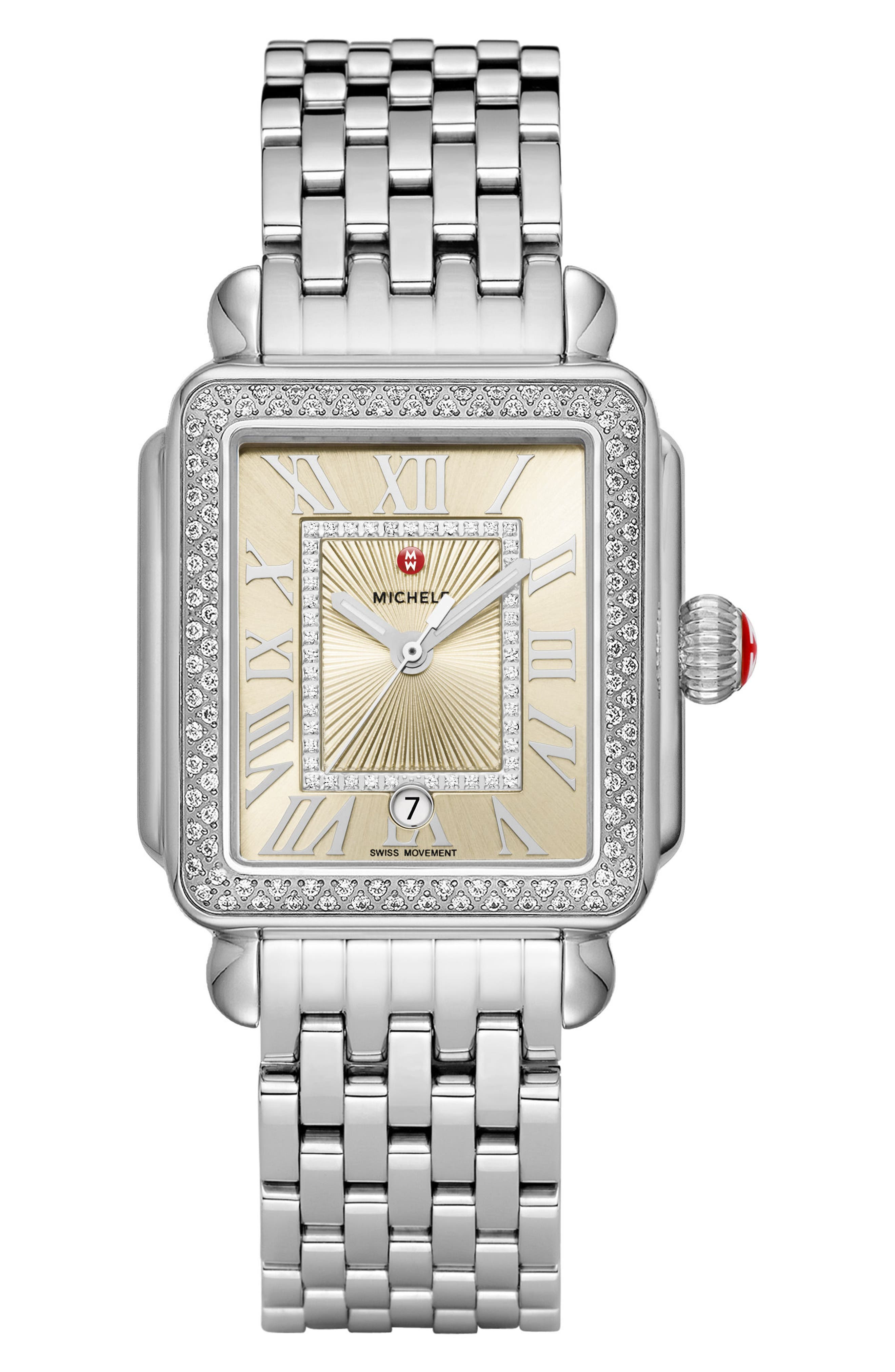 Deco Madison Champagne Diamond Watch Head, 33mm x 35mm,                             Alternate thumbnail 3, color,                             Silver/ Champagne