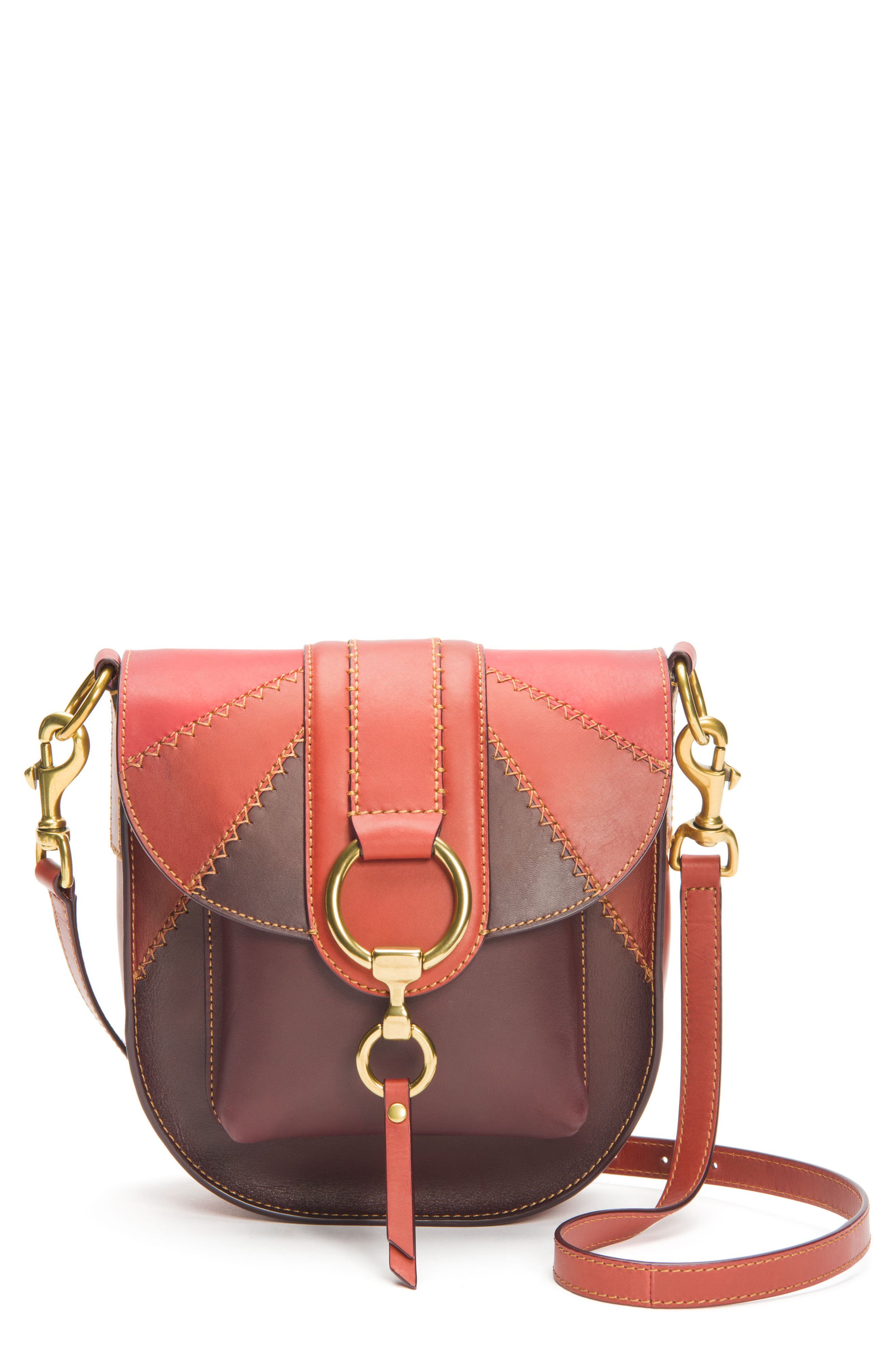 Ilana Colorblock Leather Saddle Bag,                         Main,                         color, Red Clay Multi