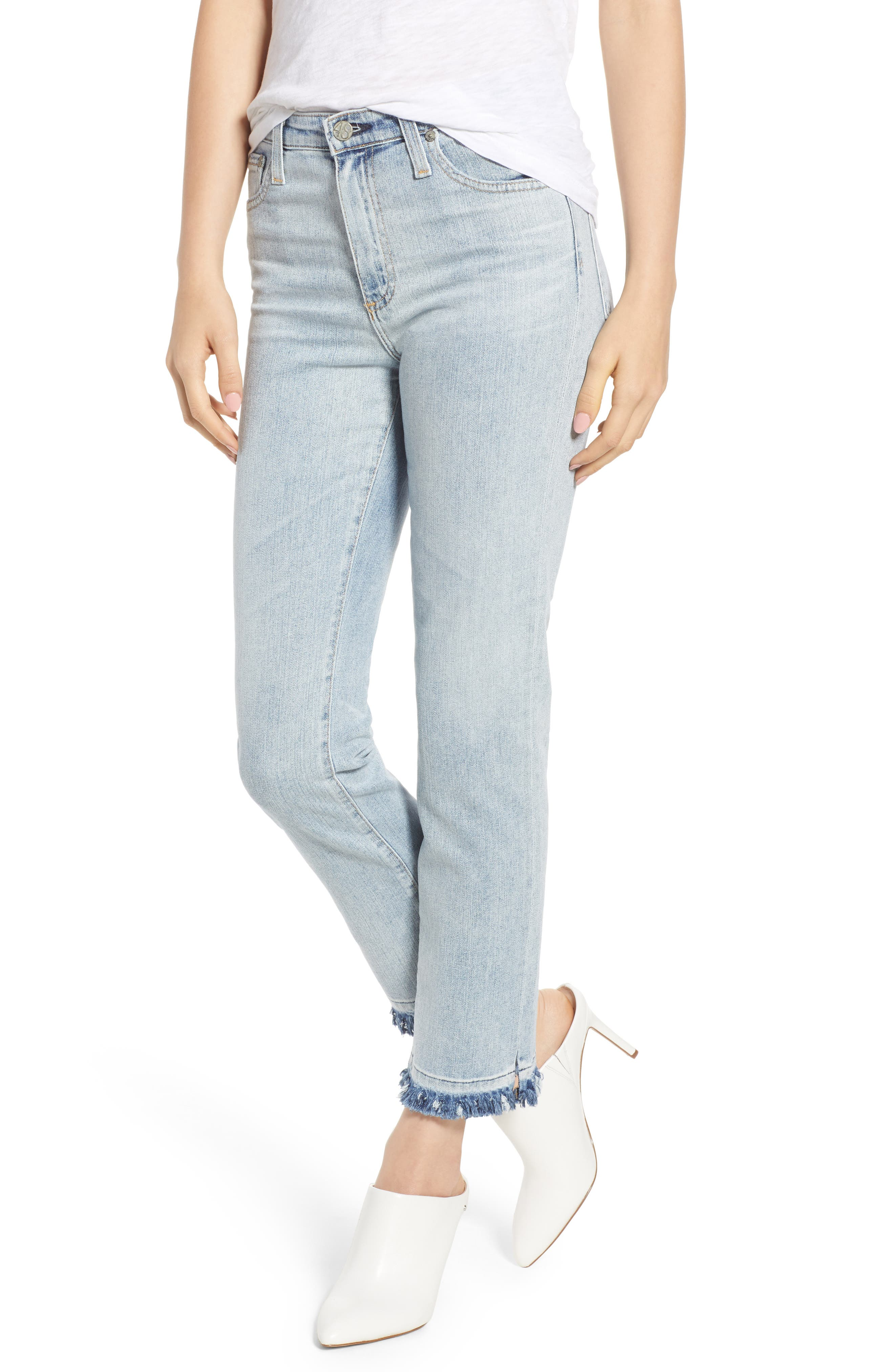 The Isabelle High Waist Crop Straight Leg Jeans,                             Main thumbnail 1, color,                             21 Years-Reflection