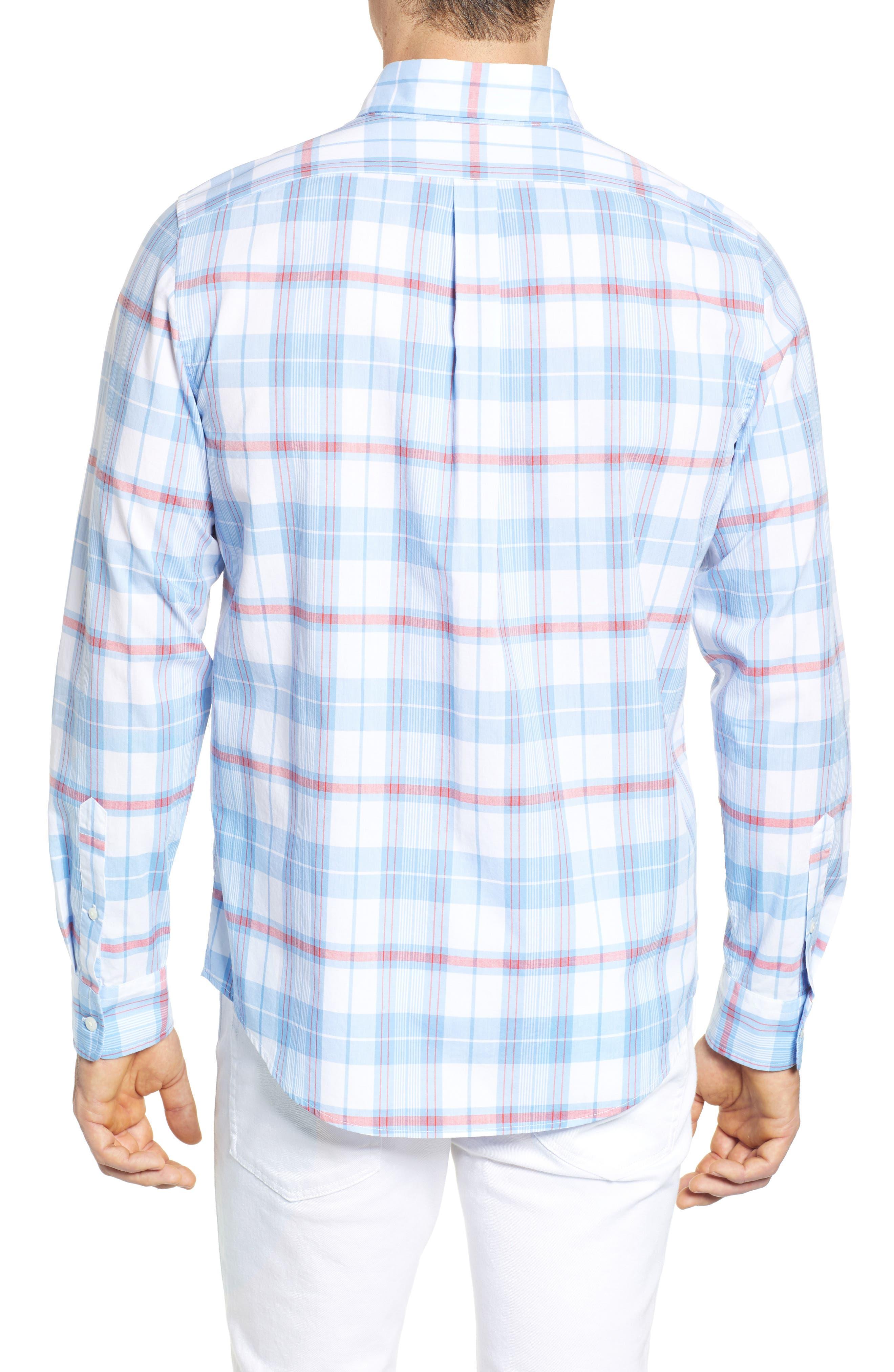 Cape Poge Tucker Slim Fit Plaid Sport Shirt,                             Alternate thumbnail 3, color,                             Dockside Blue