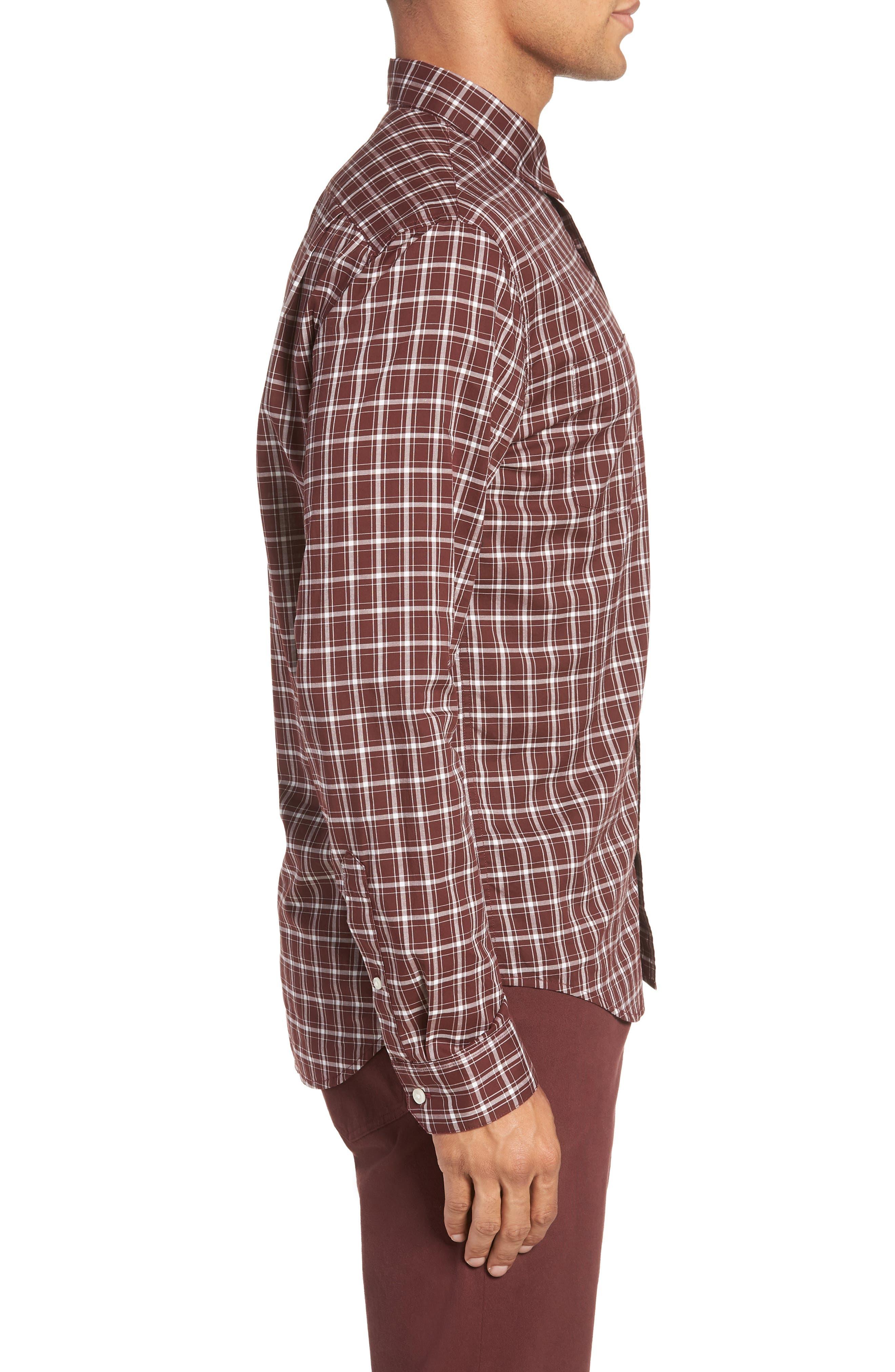 Classic Fit Plaid Sport Shirt,                             Alternate thumbnail 3, color,                             Black Cherry