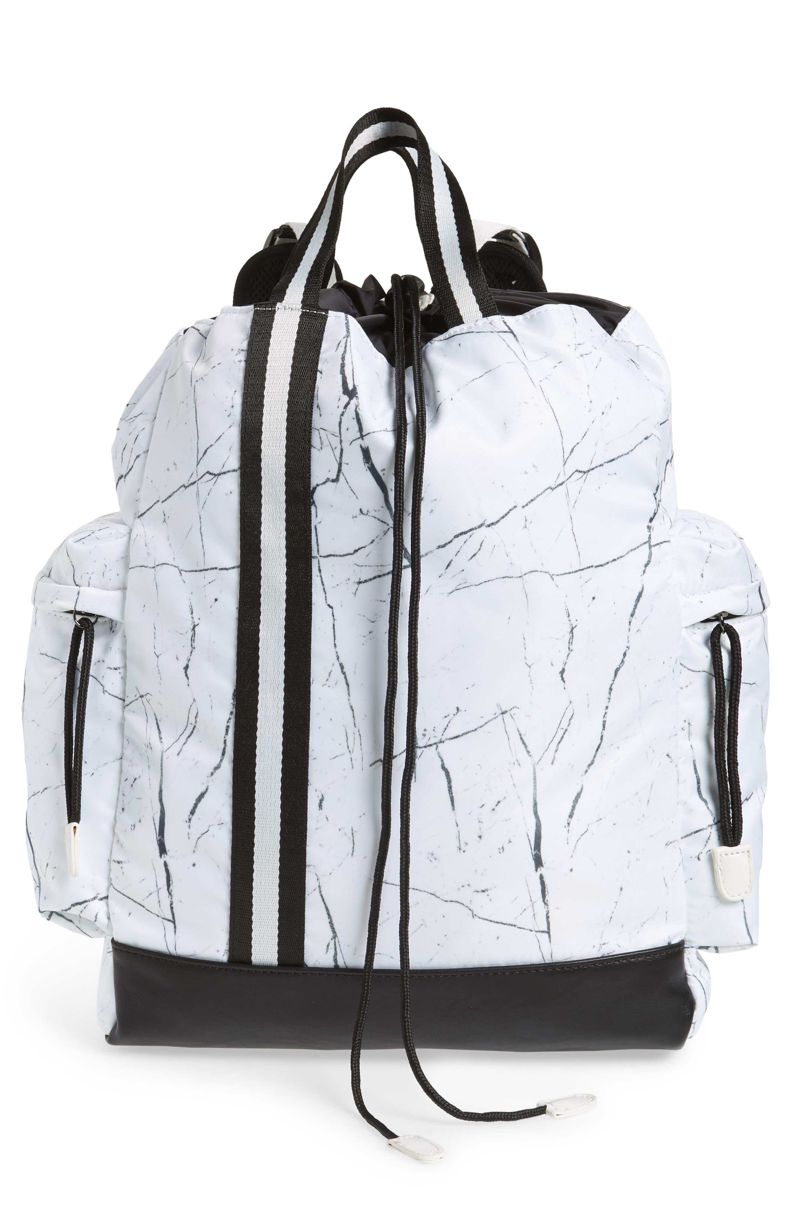Theo Marble Print Backpack,                         Main,                         color, White Marble