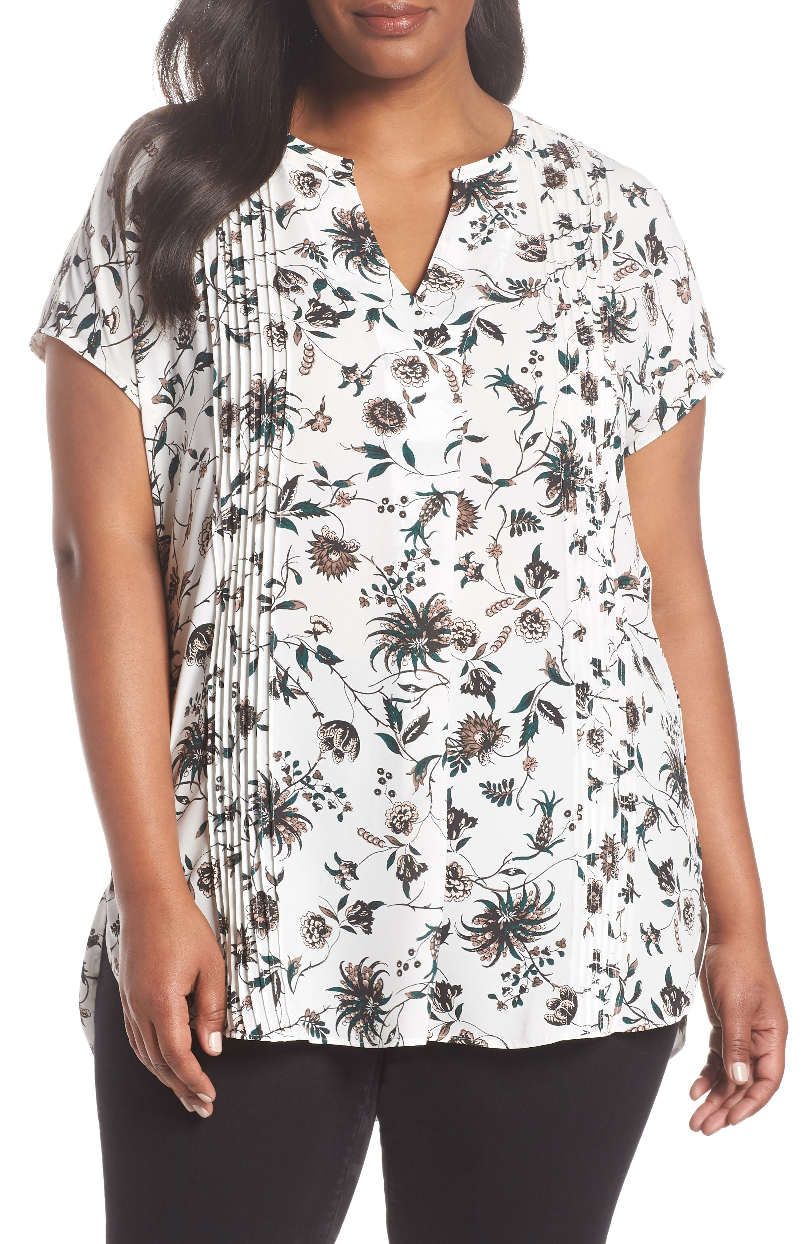 Pleat Tunic,                         Main,                         color, Ivory- Green Wall Flora Print