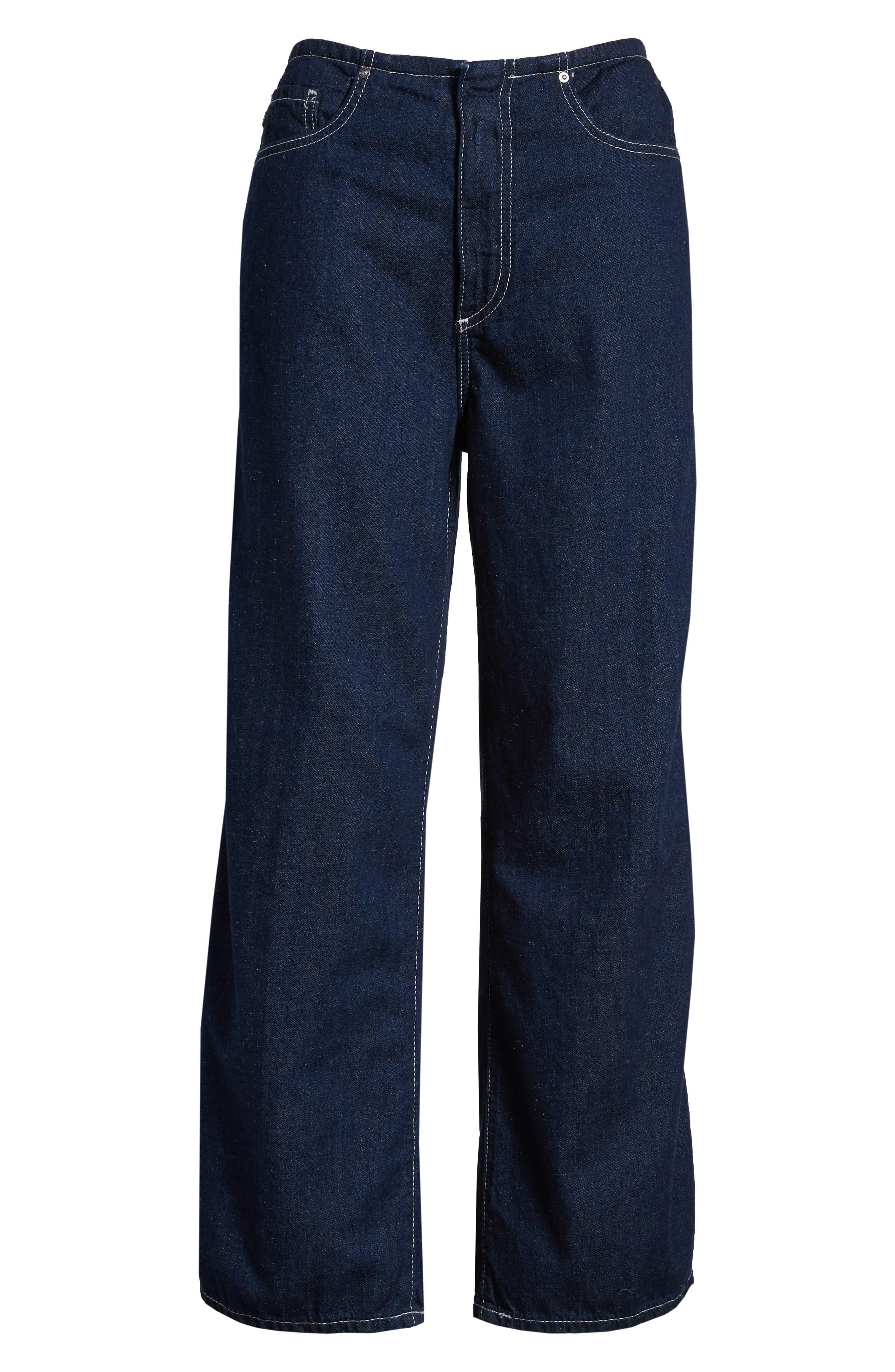 Etta High Waist Crop Wide Leg Jeans,                             Alternate thumbnail 6, color,                             Midnight Surge