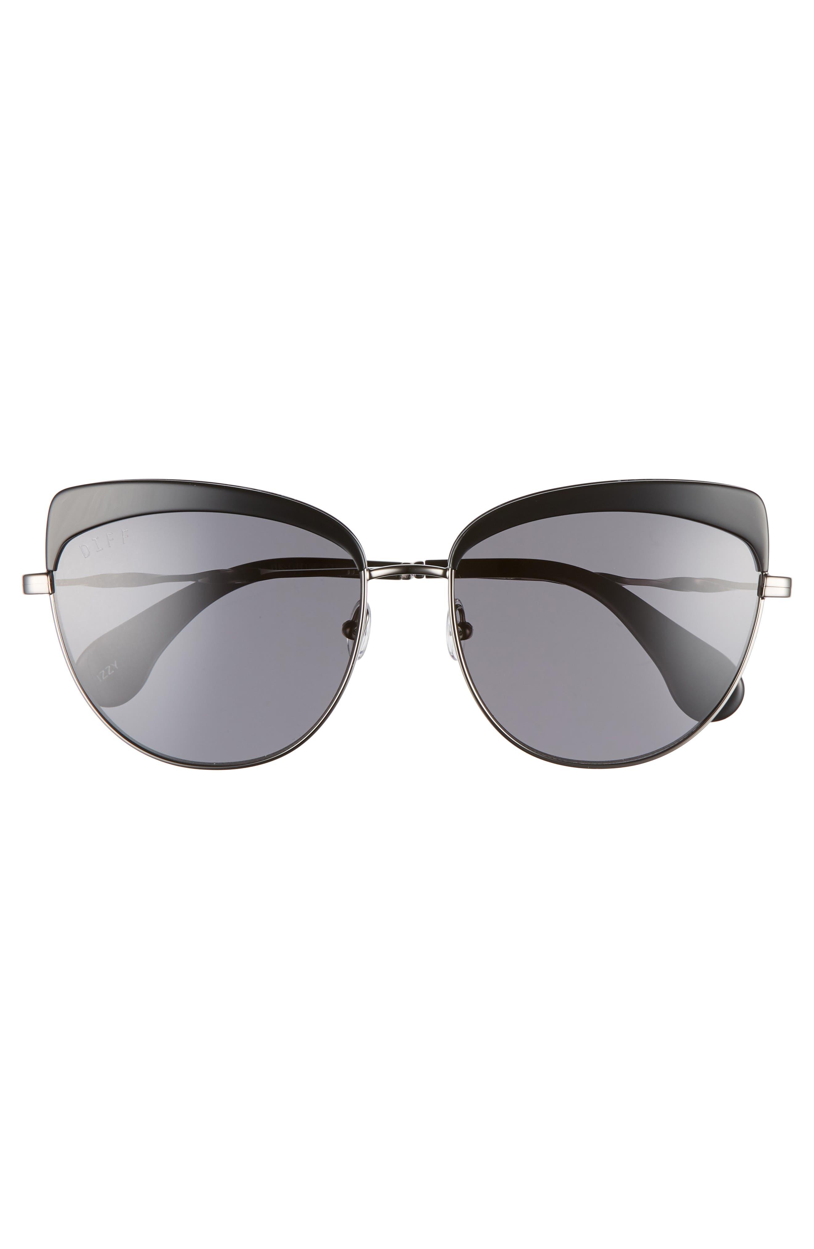 Izzy 59mm Polarized Cat Eye Sunglasses,                             Alternate thumbnail 3, color,                             Black/ Grey